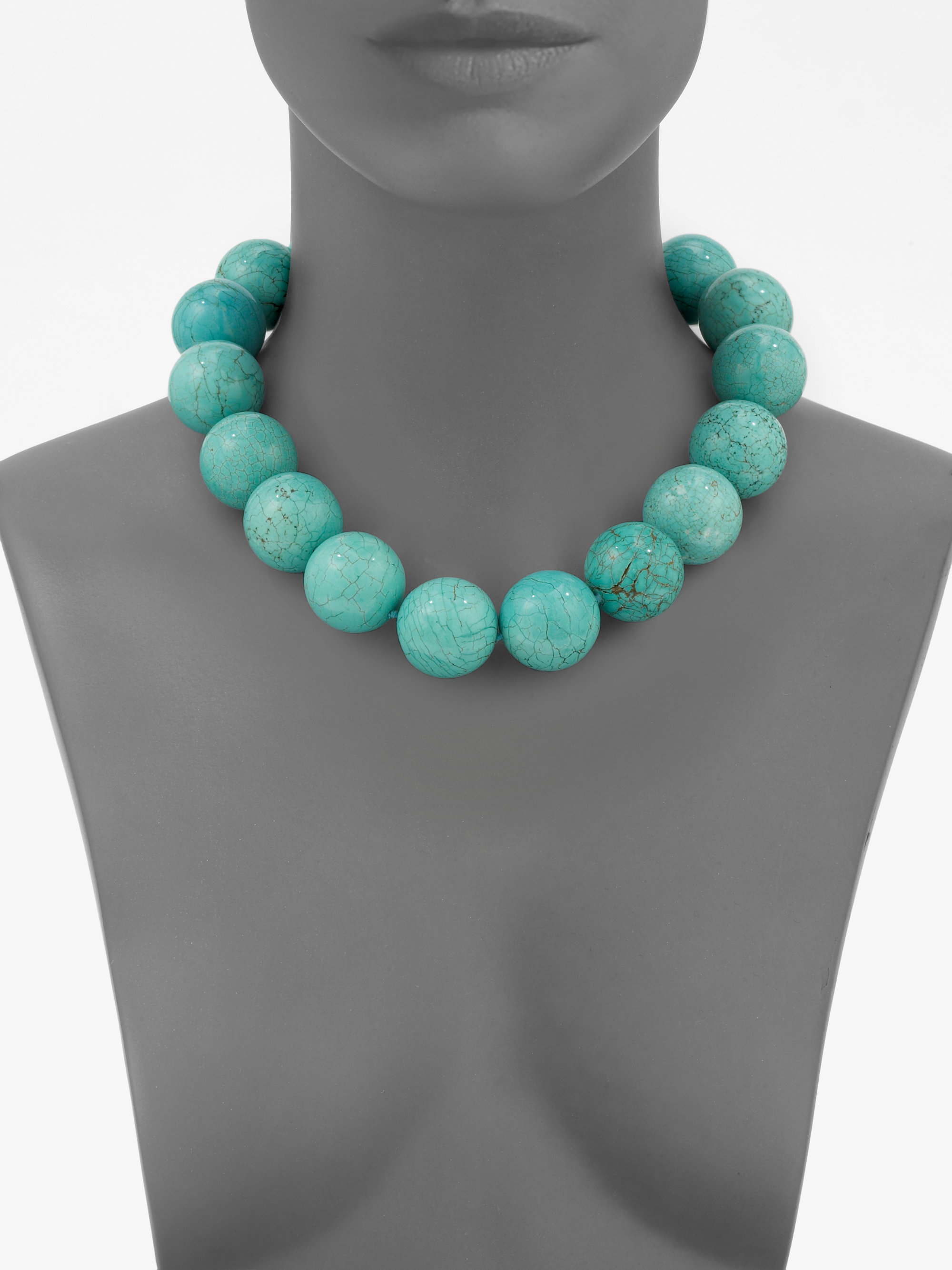 Kenneth Jay Lane Kenneth Jay Lane Woman Gold-tone Stone Necklace Turquoise Size pwWWjpHqN7