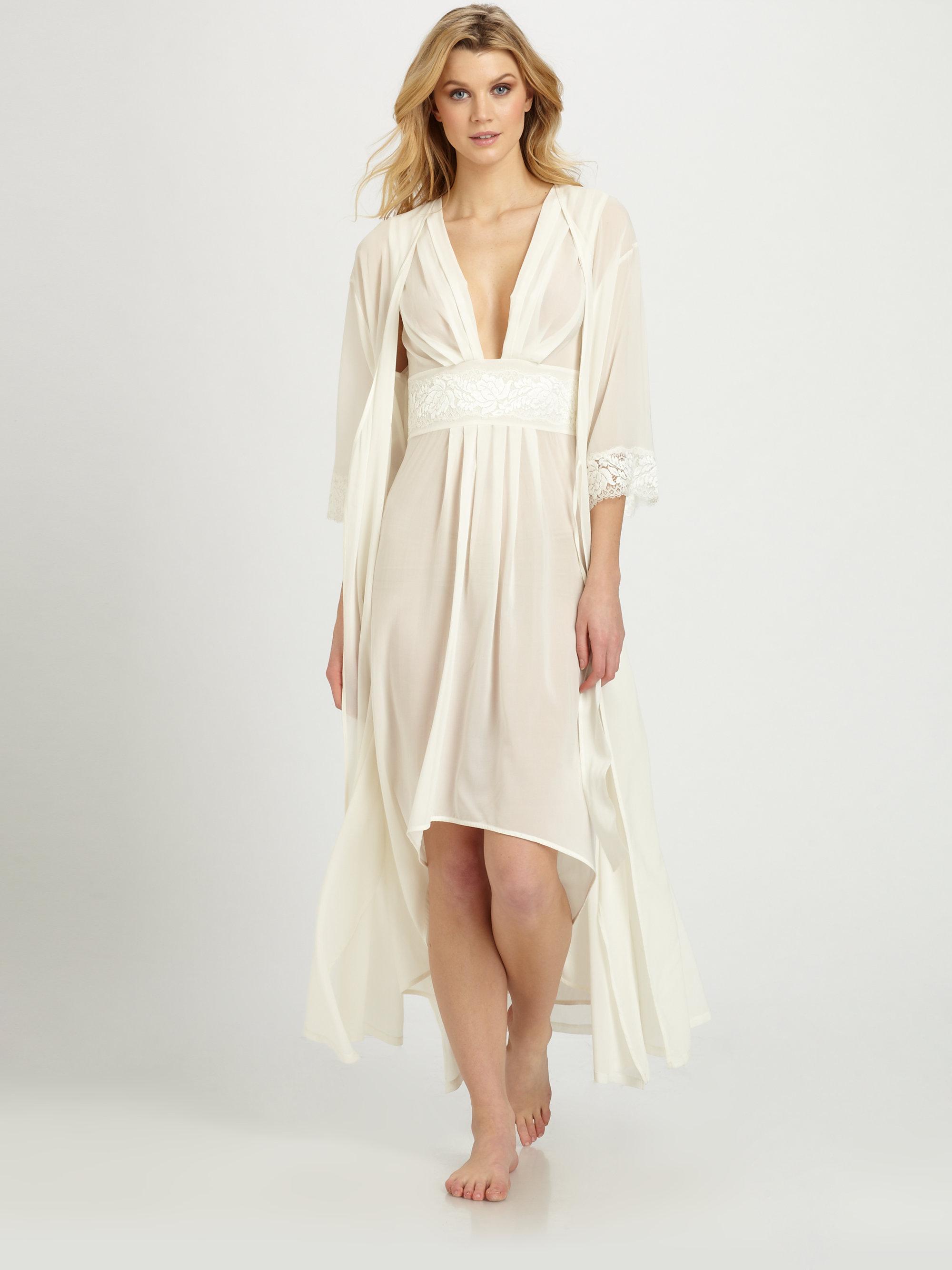 La Perla Honeymoon Long Silk Robe In White Lyst