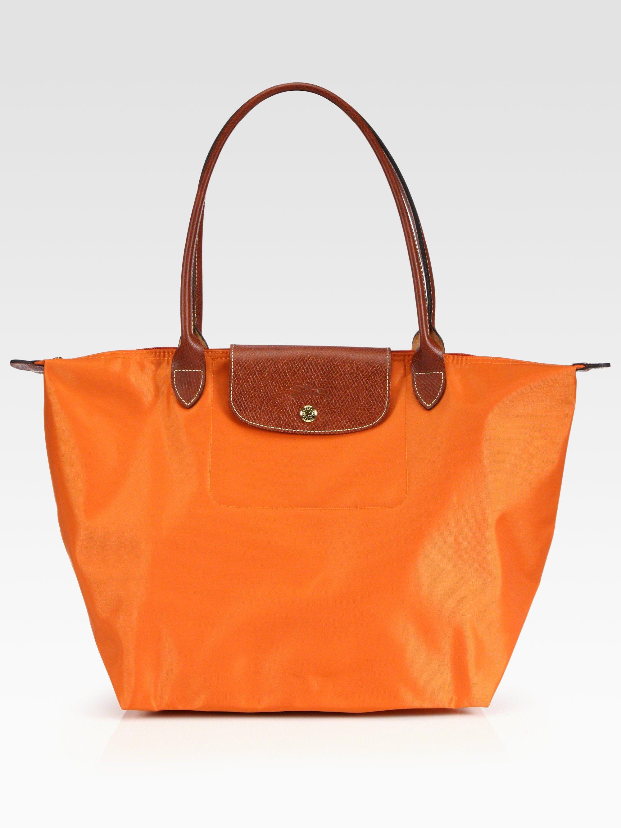 lyst longchamp le pliage large shoulder tote in orange. Black Bedroom Furniture Sets. Home Design Ideas