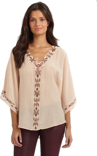Love Sam Cotton Silk Tribal Bead Blouse - Lyst