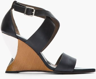 Marni Black Leather and Silver Wedge Sandals - Lyst
