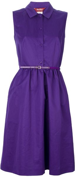 Max Mara Studio Sleeveless Belted Shirt Dress - Lyst