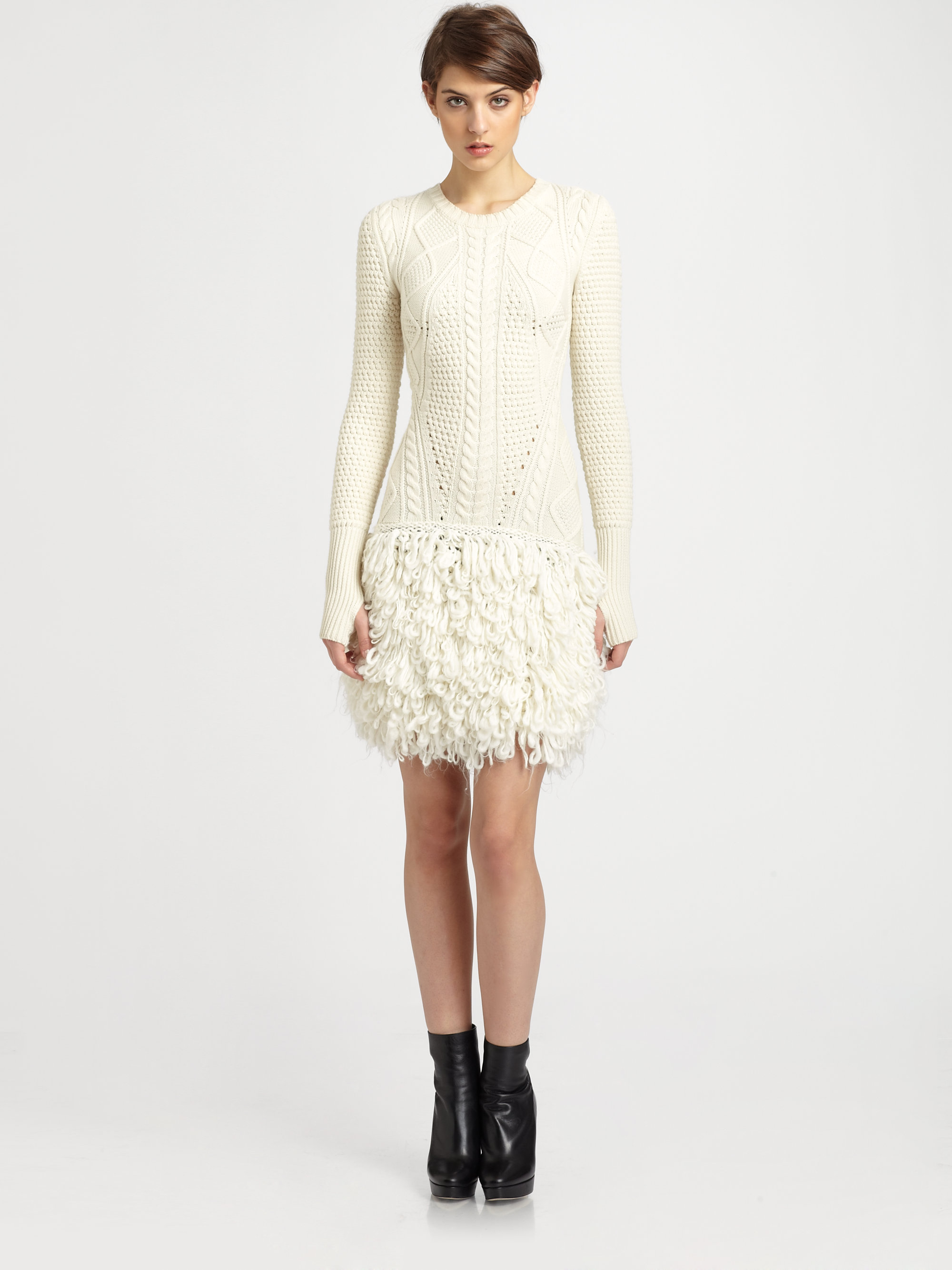 fd0bae1cd5a McQ Cable Loopknit Wool Sweater Dress in White - Lyst