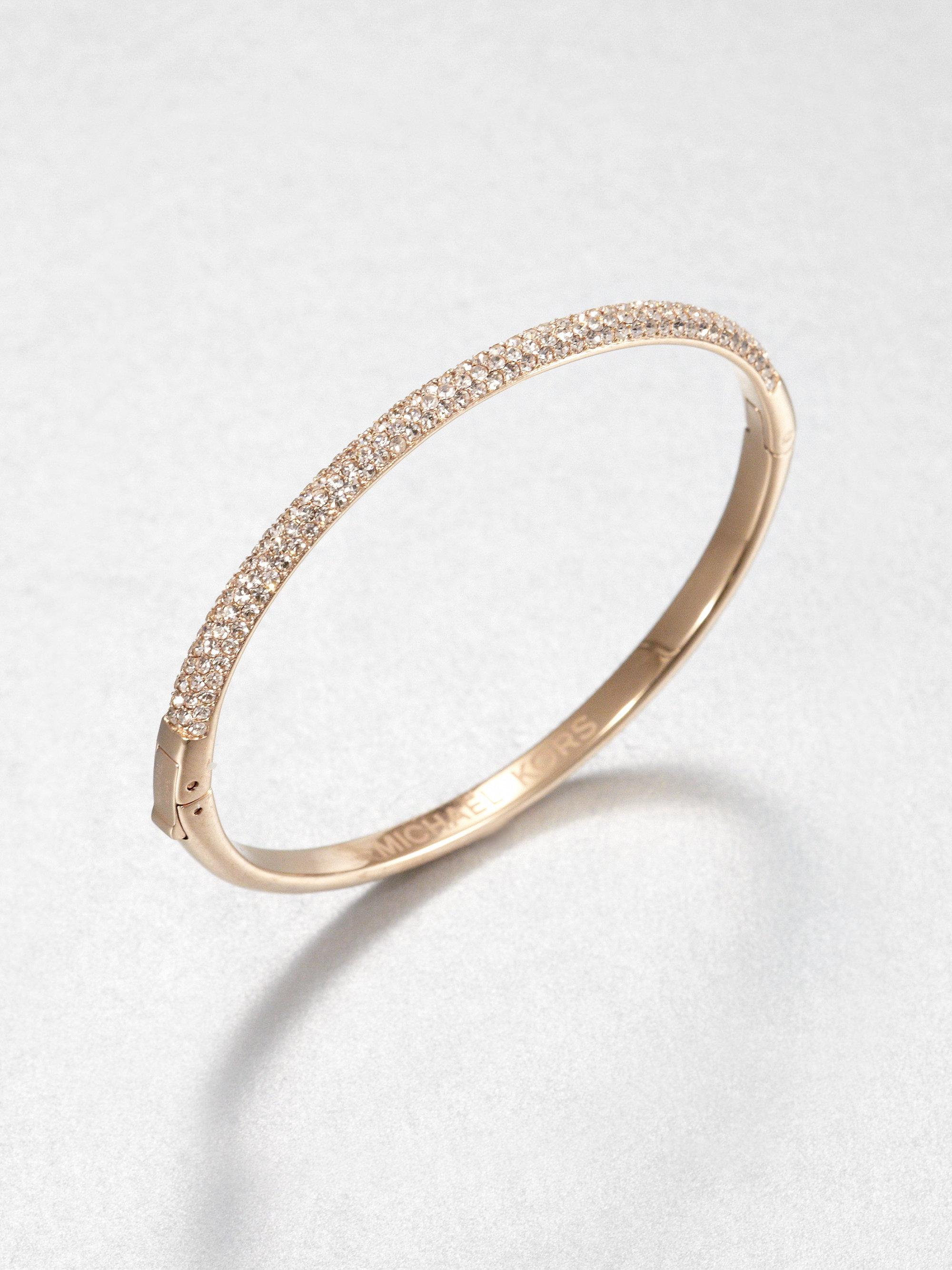 michael kors sparkle bracelet rose in gold rose gold lyst. Black Bedroom Furniture Sets. Home Design Ideas