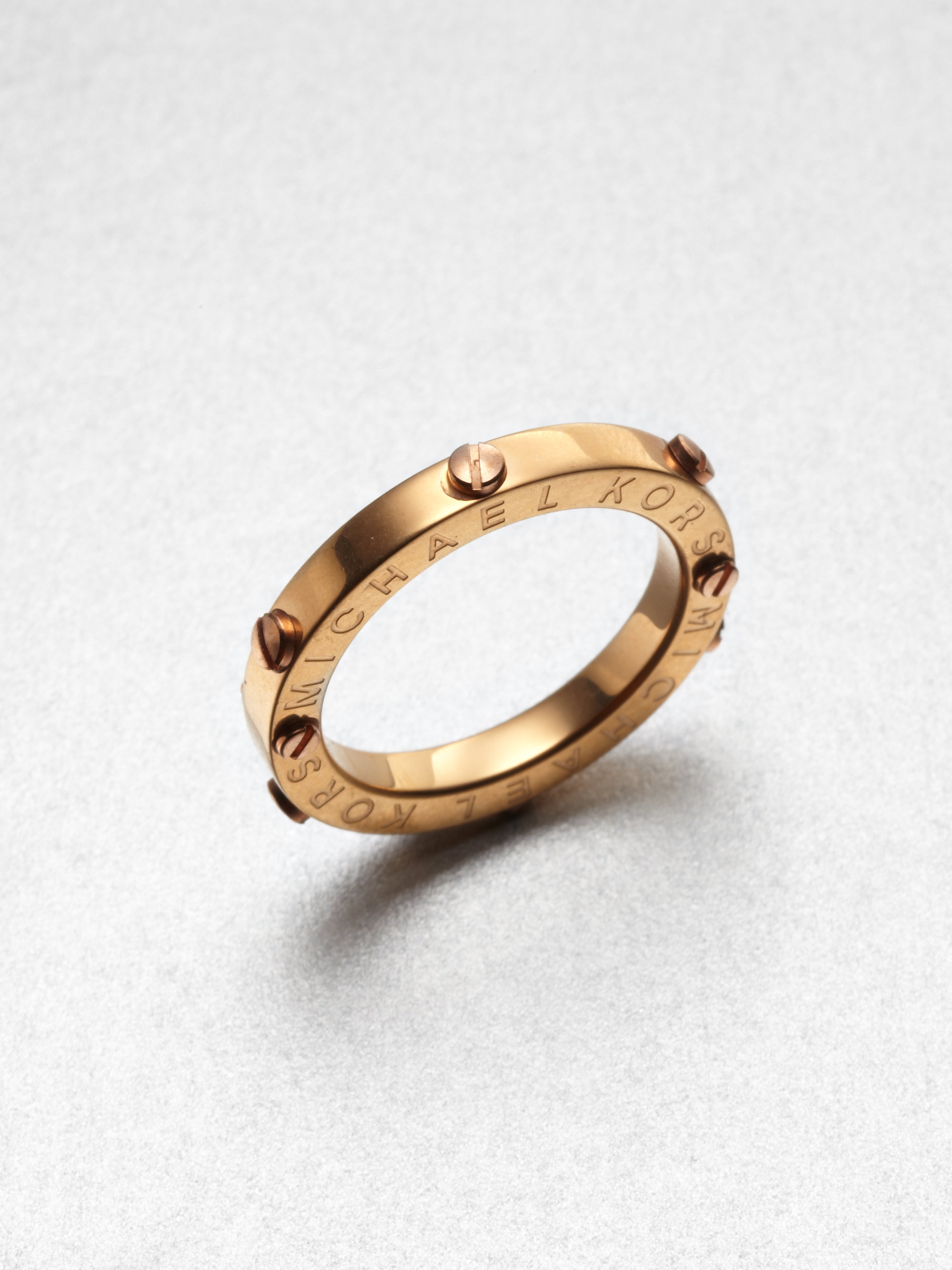 michael kors rivet accented ring rose gold tone in gold rose gold lyst. Black Bedroom Furniture Sets. Home Design Ideas