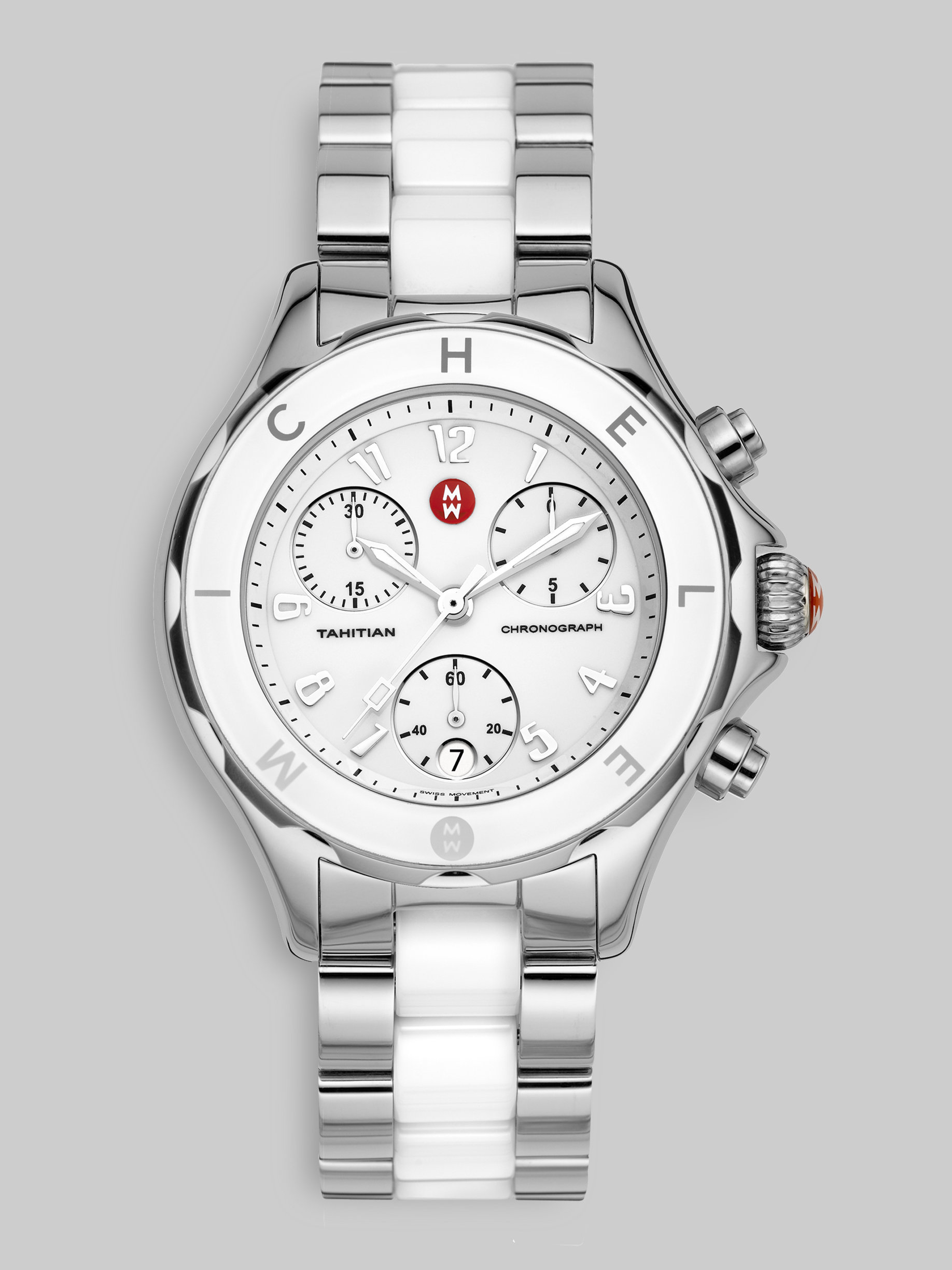 Michele Large Tahitian Stainless Steel Ceramic Chronograph