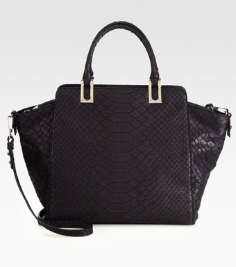 Milly Reece Pythonembossed Leather Tote - Lyst