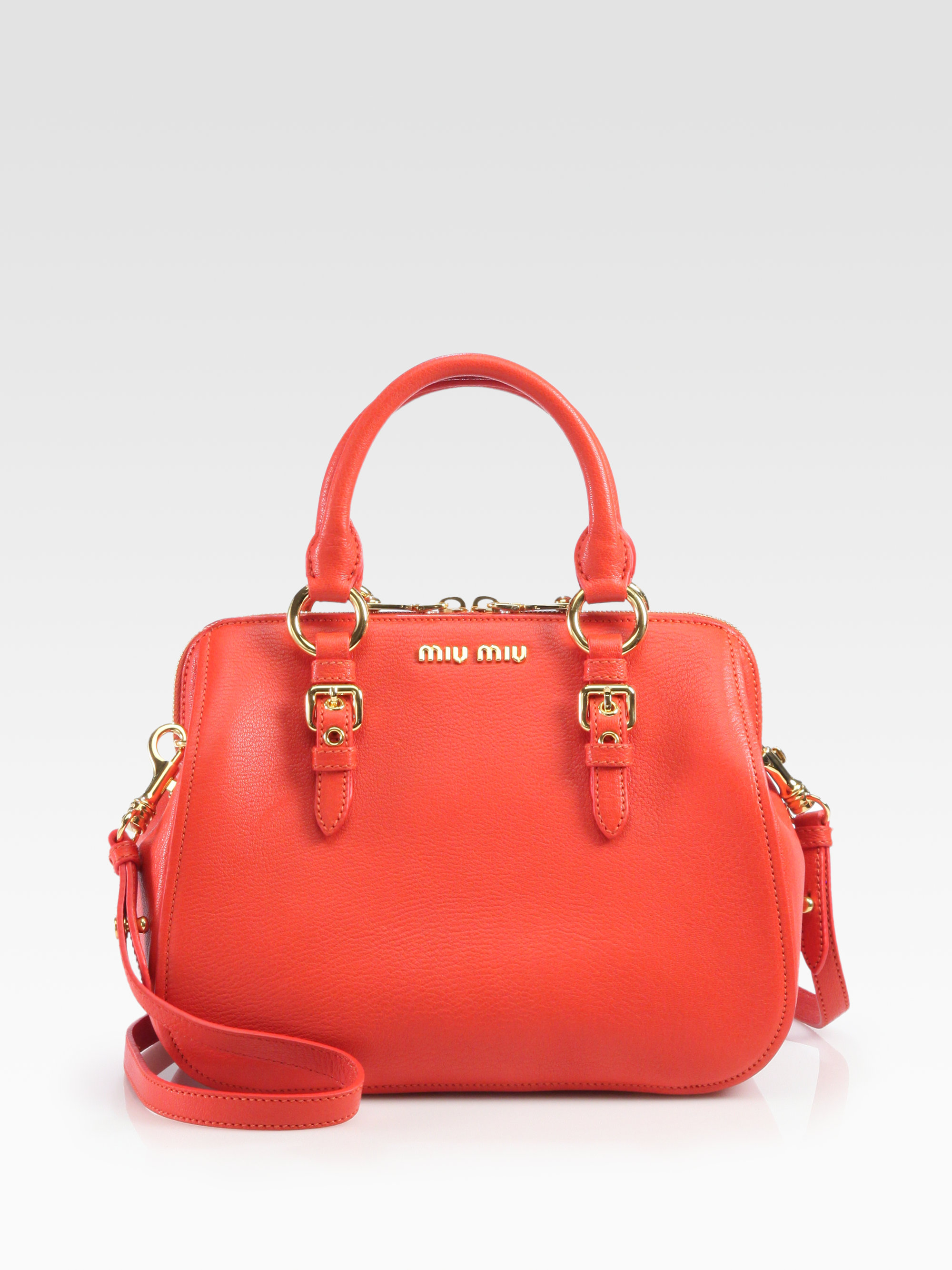 Lyst - Miu Miu Madras Leather Top Handle Bag in Red f8a5be5f7f