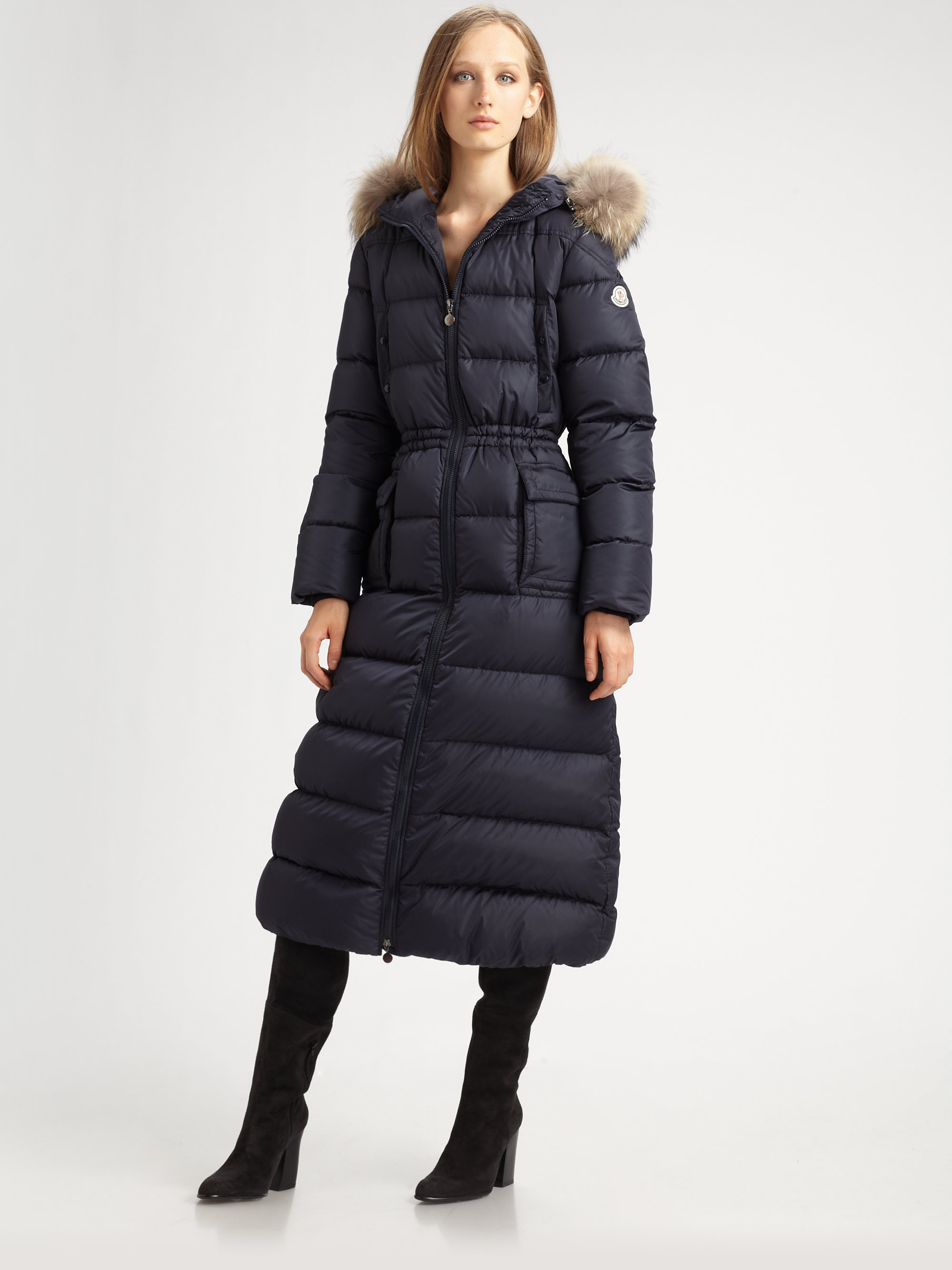 0244175cd Lyst - Moncler Long Furtrimmed Puffer Coat in Black