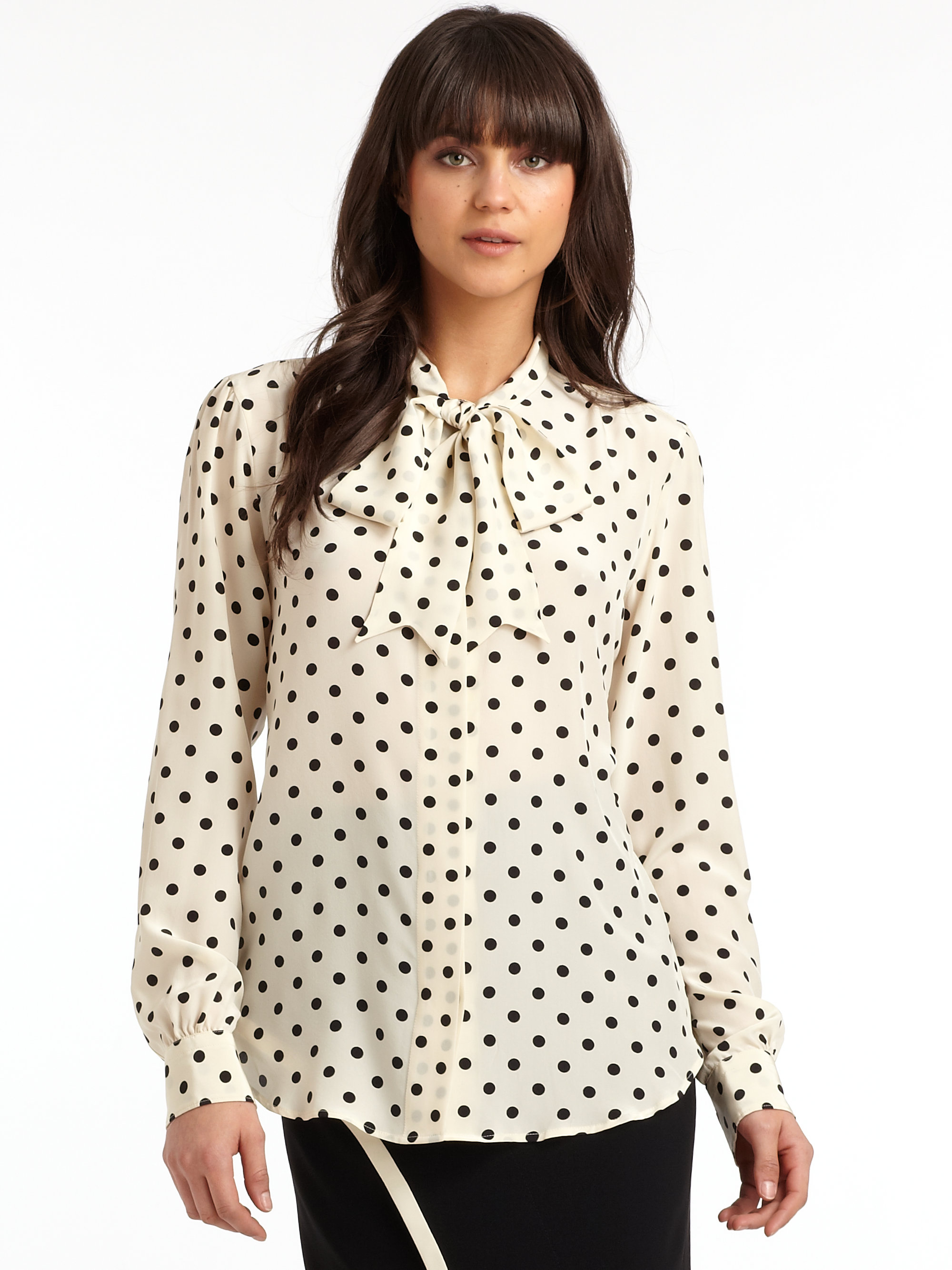 9a8a2f739800e0 Lyst - Moschino Silk Polka Dot Tie Neck Blouse in White