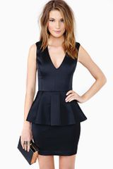 Nasty Gal Bardot Peplum Dress Black - Lyst
