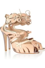 Oscar de la Renta Paridisia Butterfly Appliquéd Leather Sandals - Lyst