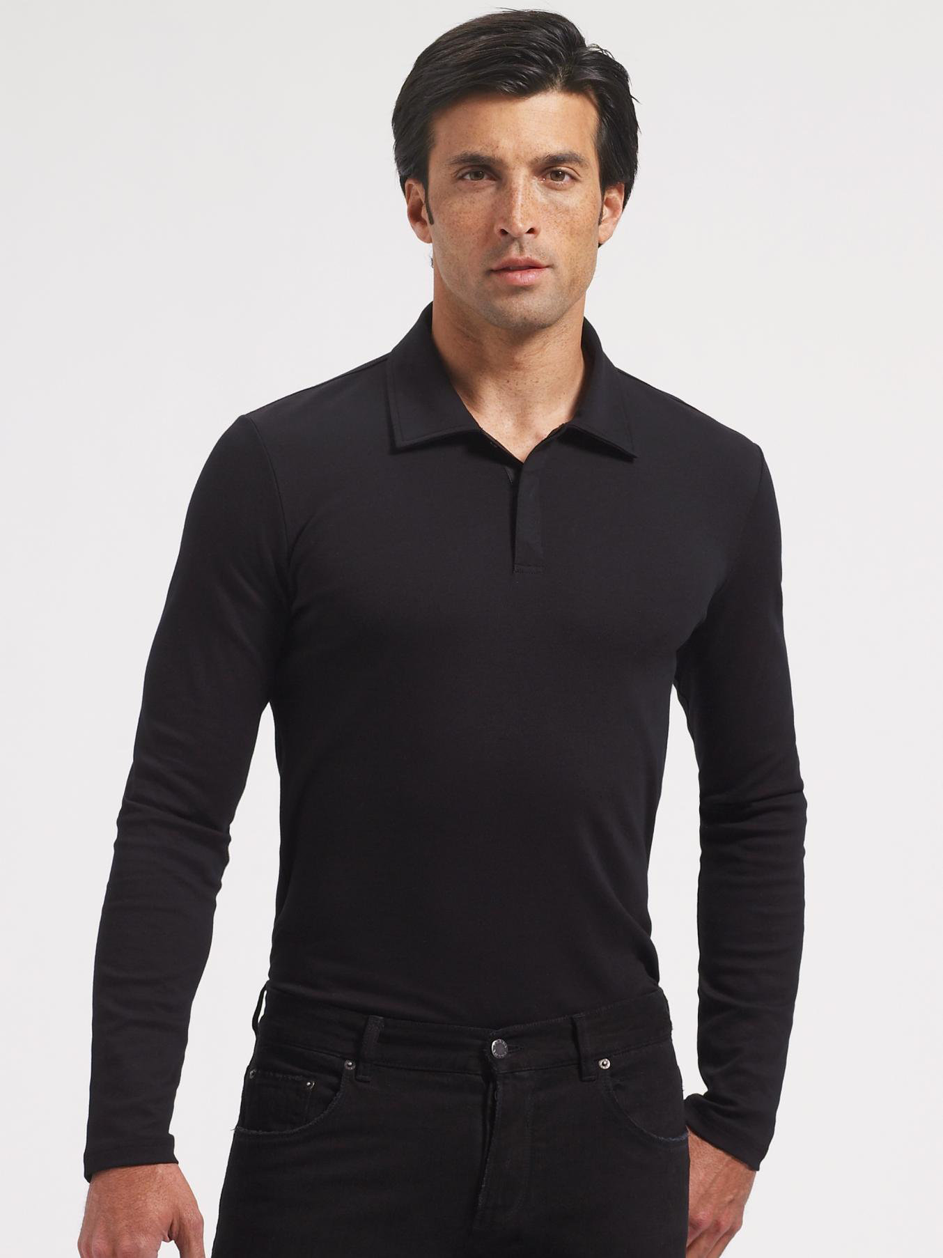 Prada Longsleeve Polo In Black For Men Lyst