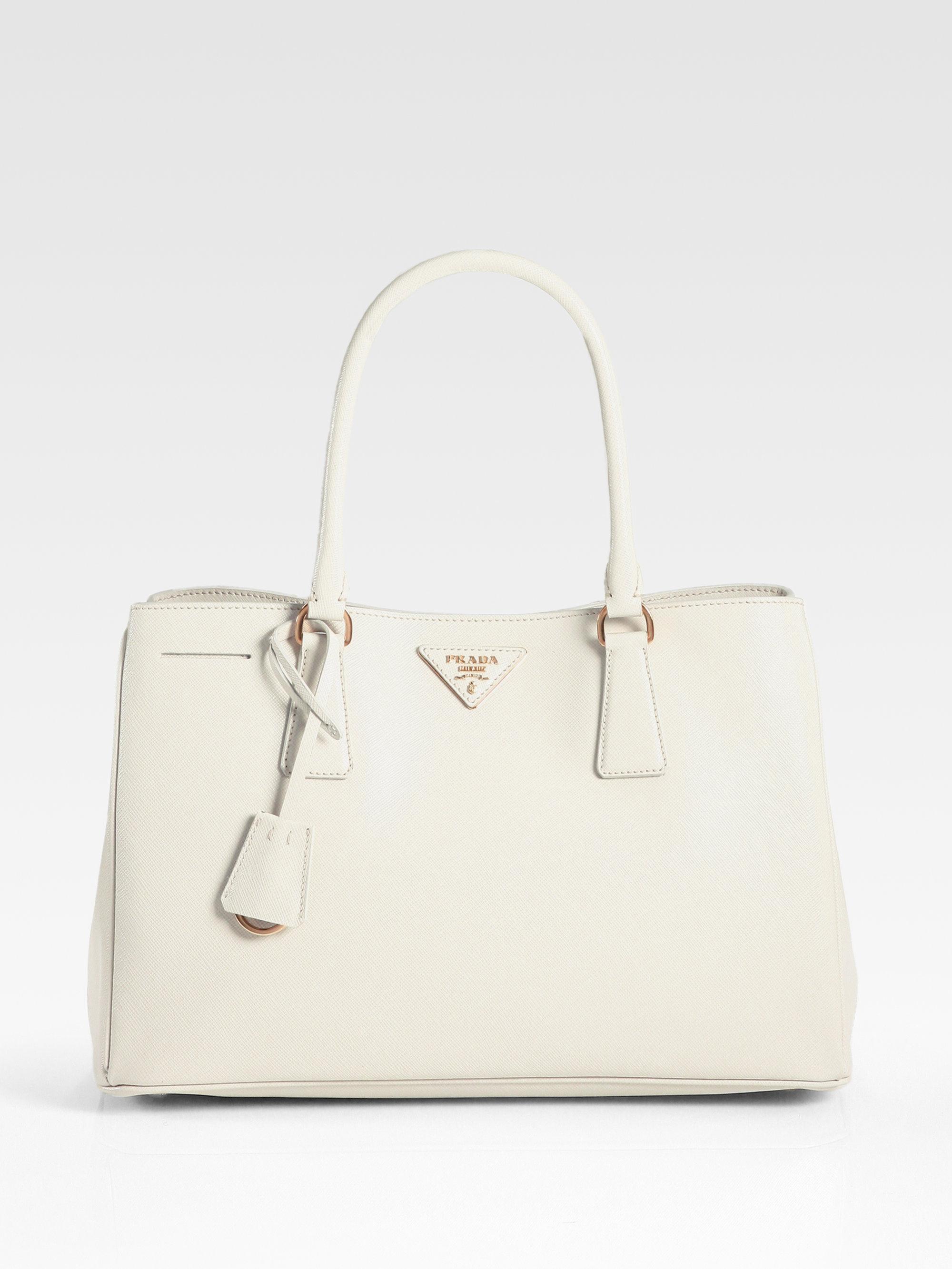 Prada Saffiano Medium Tote Bag in White (off white) | Lyst