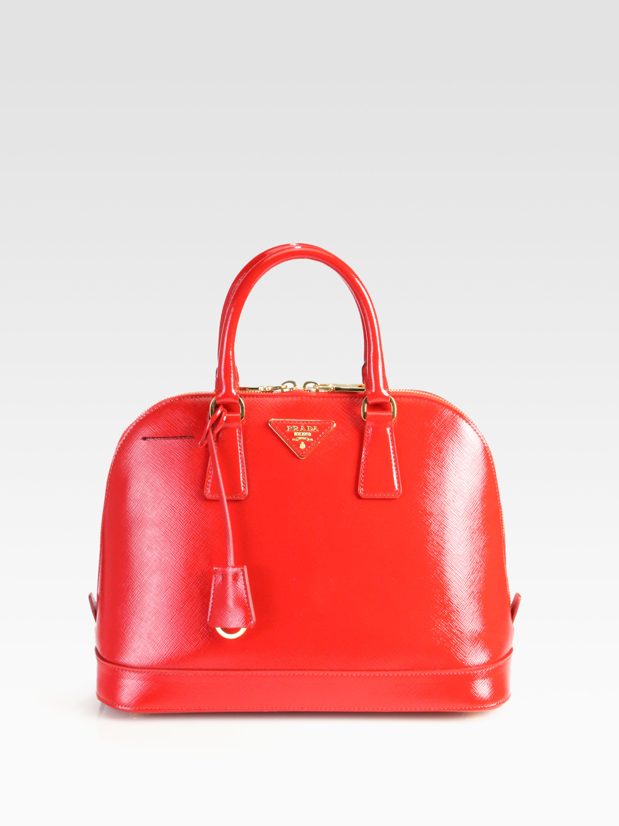7c8716d48a77 ... where to buy lyst prada saffiano vernice bugatti top handle bag in red  fc85a 4607e