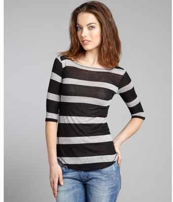 Rebecca Beeson Black Striped Cotton Blend Scoop Back Top - Lyst