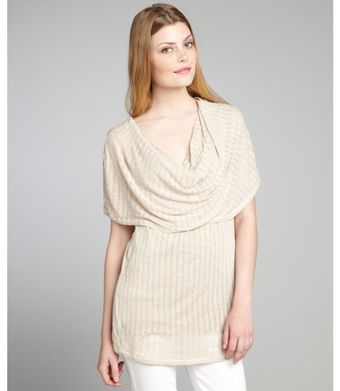 Rebecca Beeson Oatmeal Cotton Blend Shawl Shoulder Sleeveless Top - Lyst