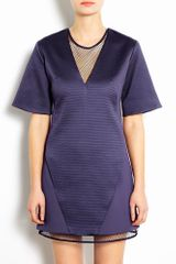 Richard Nicoll V Neck Illusion Shift Dress with Mesh Detail