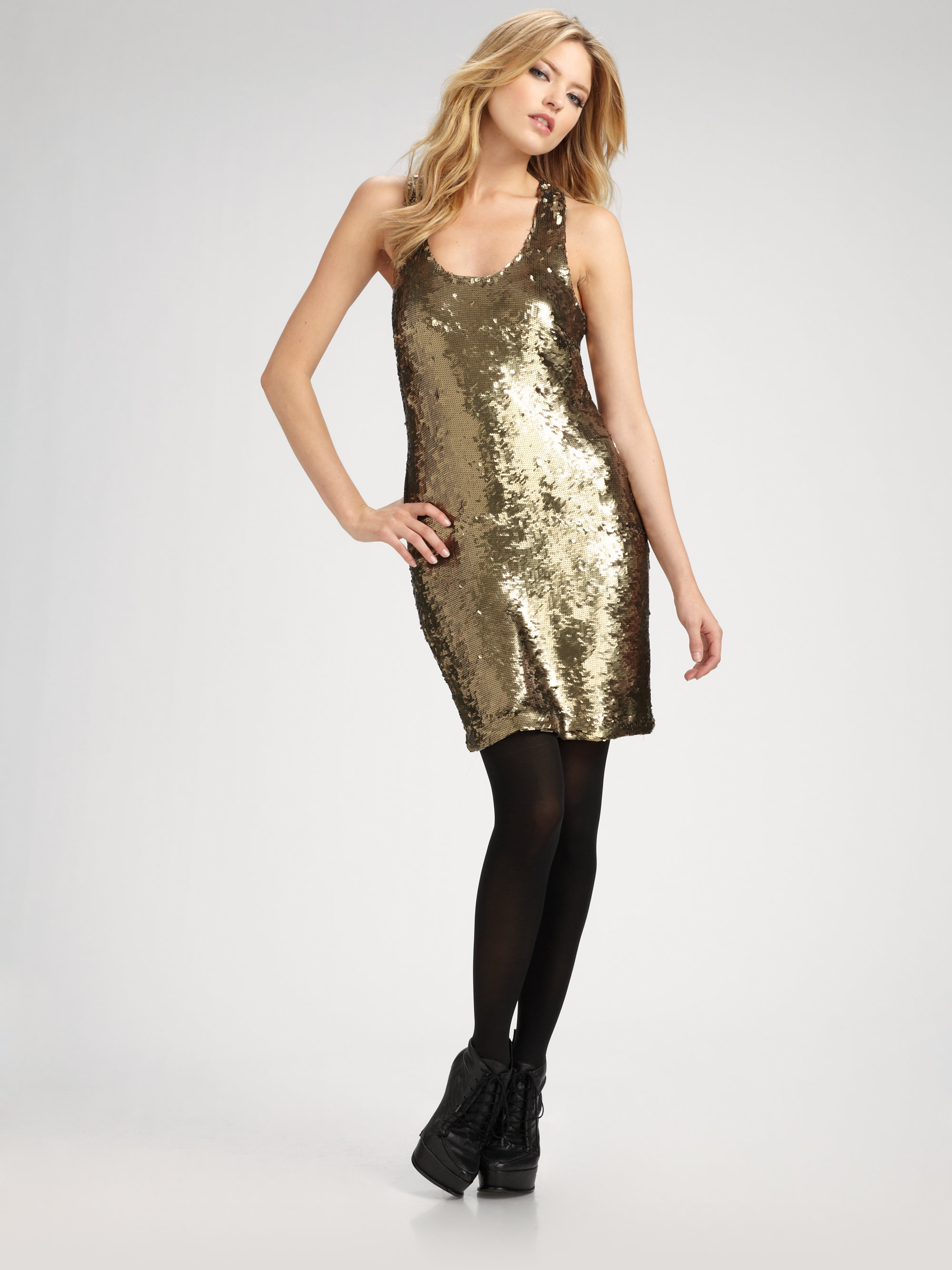 Robert rodriguez Sequined Tank Dress in Metallic - Lyst