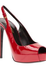 Saint Laurent Peep Toe Platform Pump - Lyst