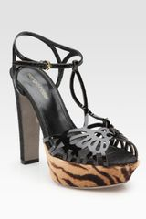 Sergio Rossi Butterfly Patent and Calf Hair Tstrap Sandals - Lyst
