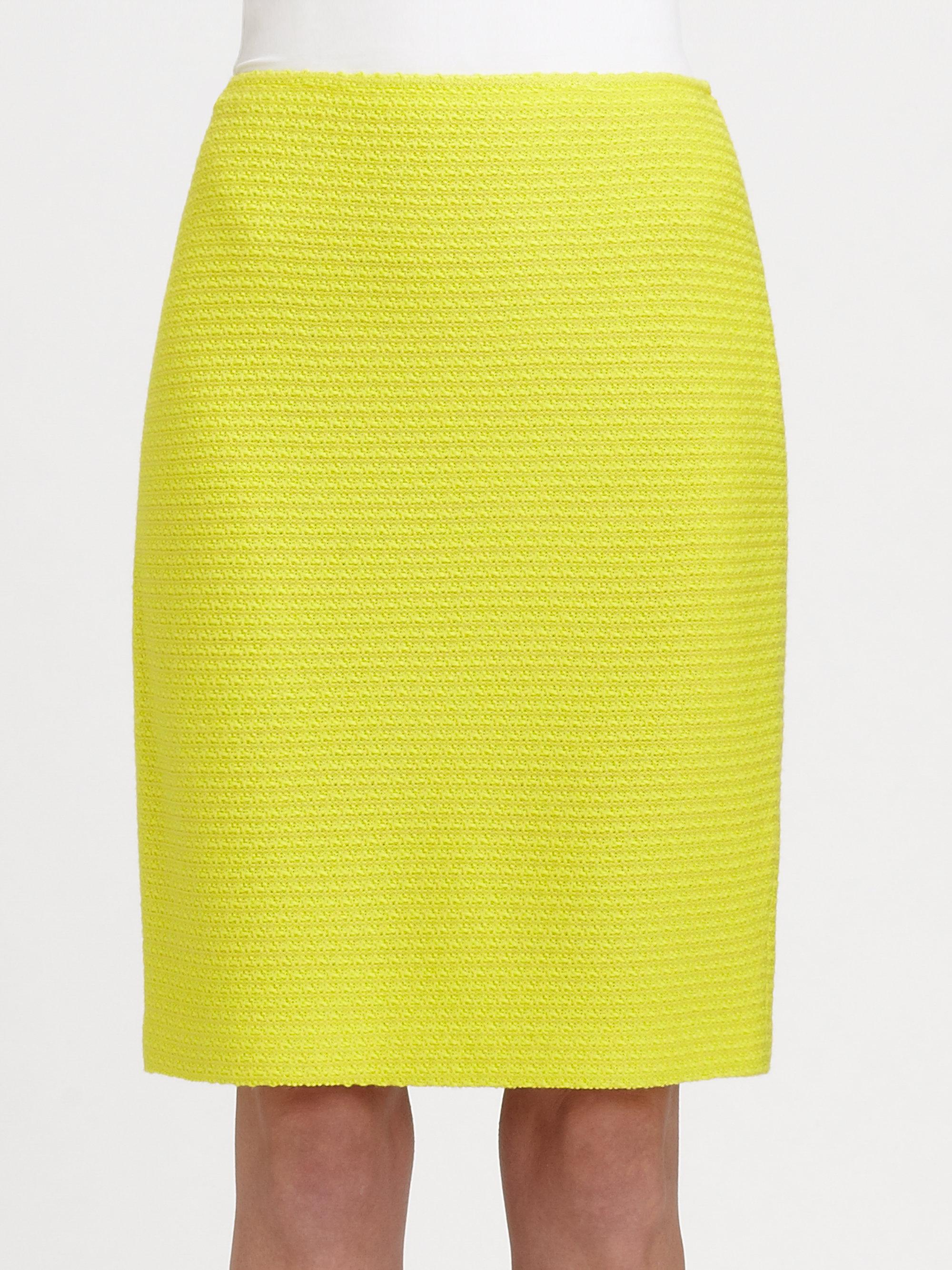 st soho tweed pencil skirt in yellow neon yellow