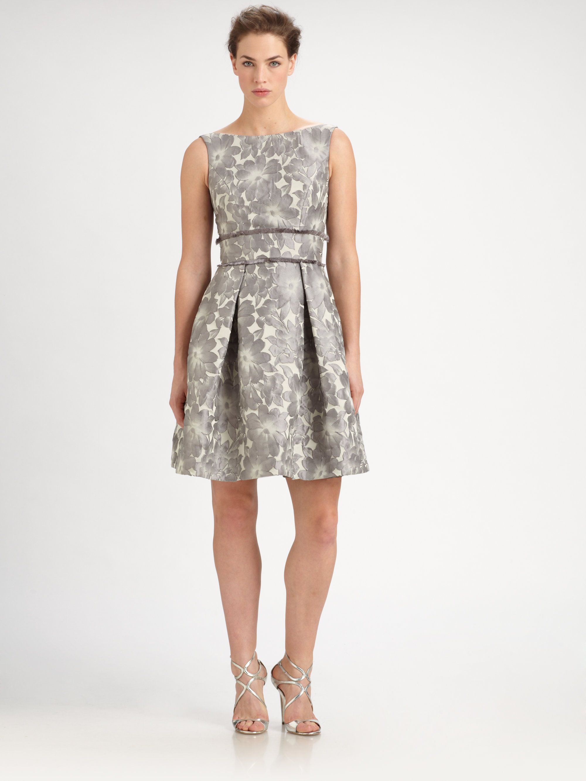 Lyst Theia Floral Jacquard Dress In Gray