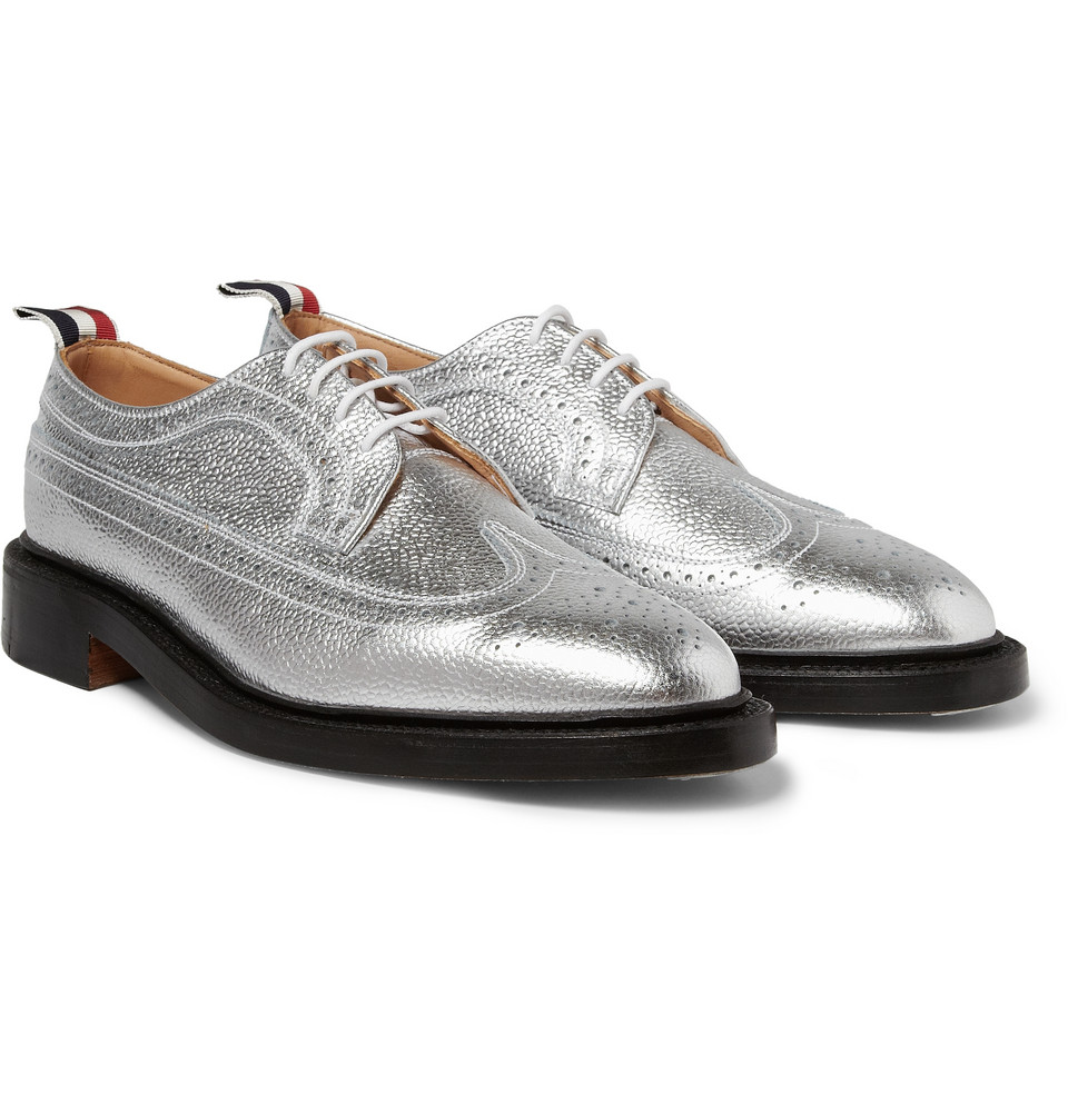 Metallic Leather Boots : Thom browne metallic leather longwing brogues in silver