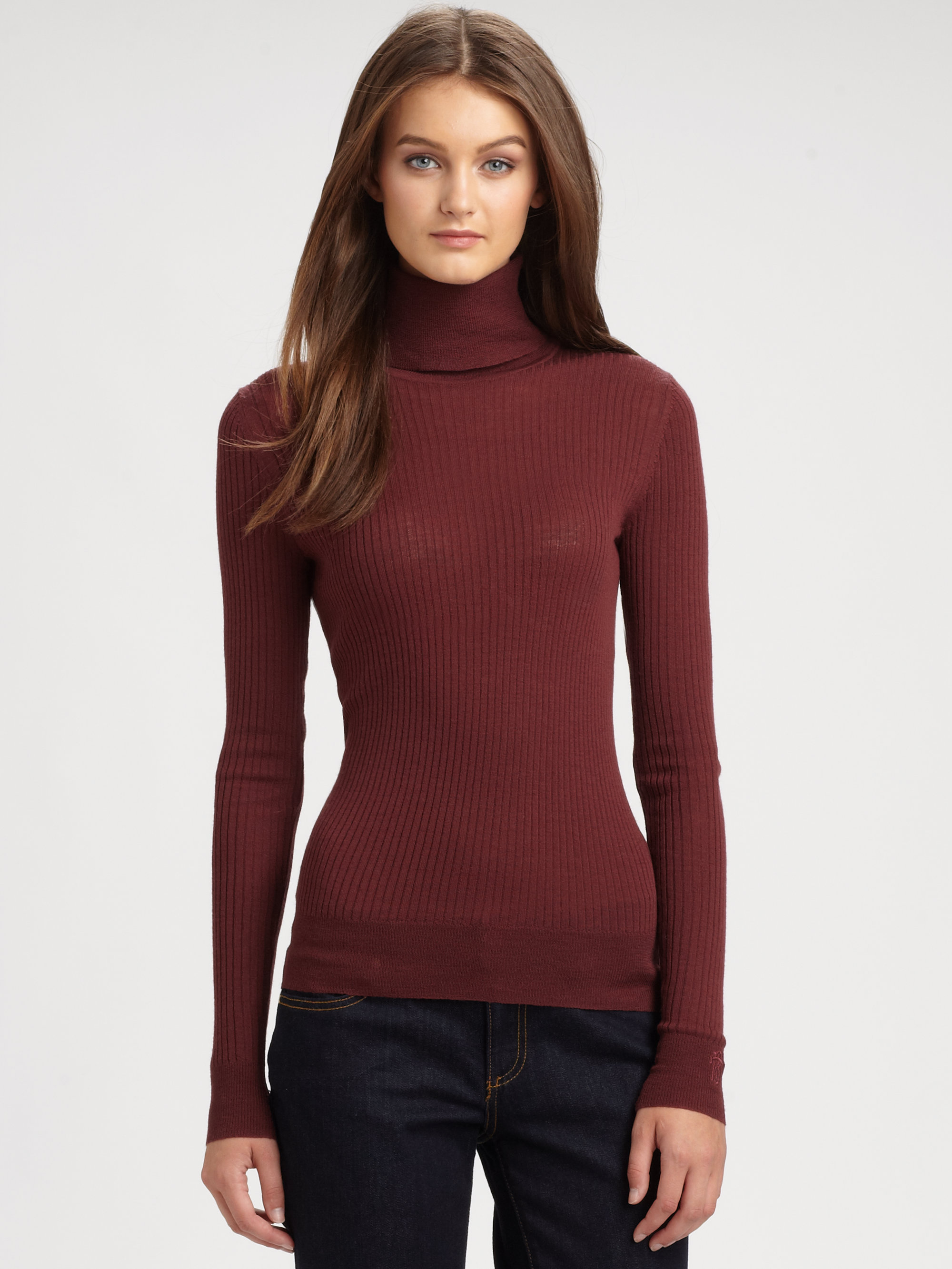 Tory burch Wool Antonia Turtleneck in Red | Lyst