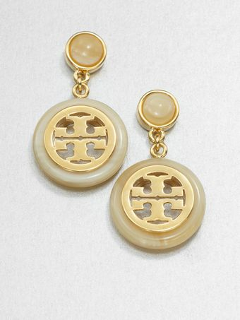 Tory Burch Hornprint Logo Drop Earrings - Lyst