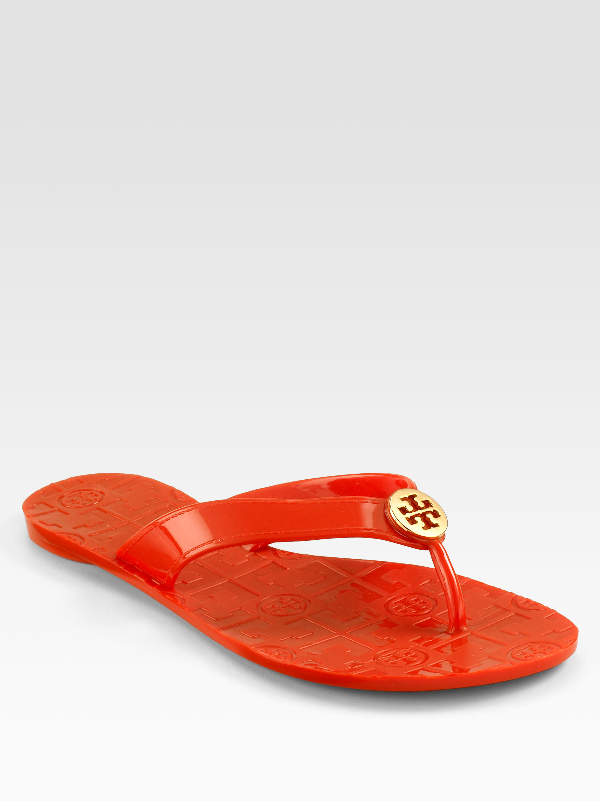 ca2d4e29f884 Lyst - Tory Burch Thora Jelly Flip Flops in Orange