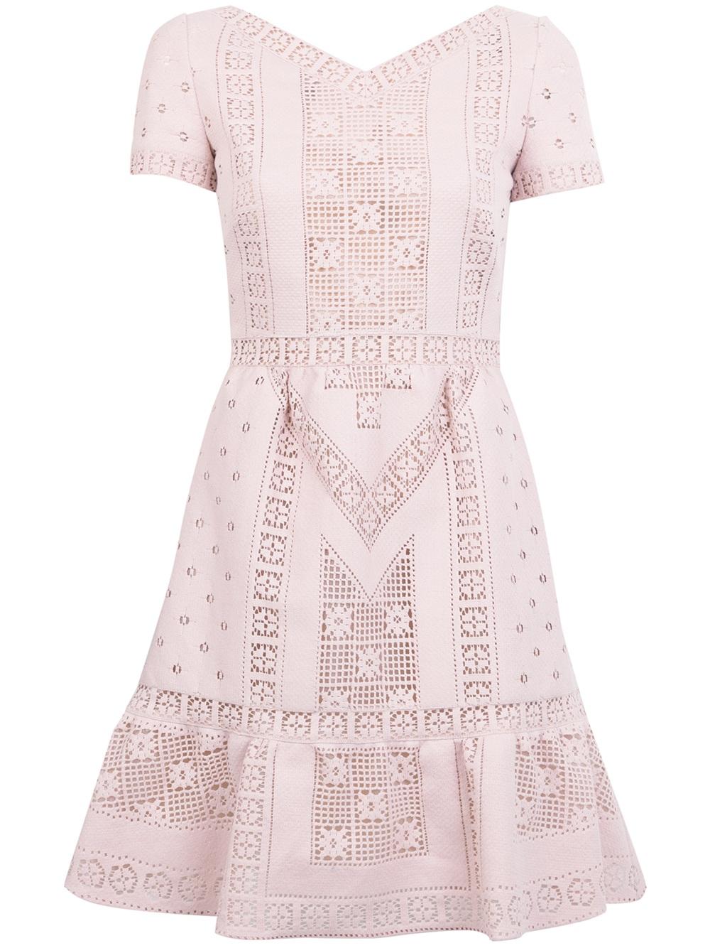 fc0fd851cdd8 Valentino Crochet Knit Dress in Pink - Lyst