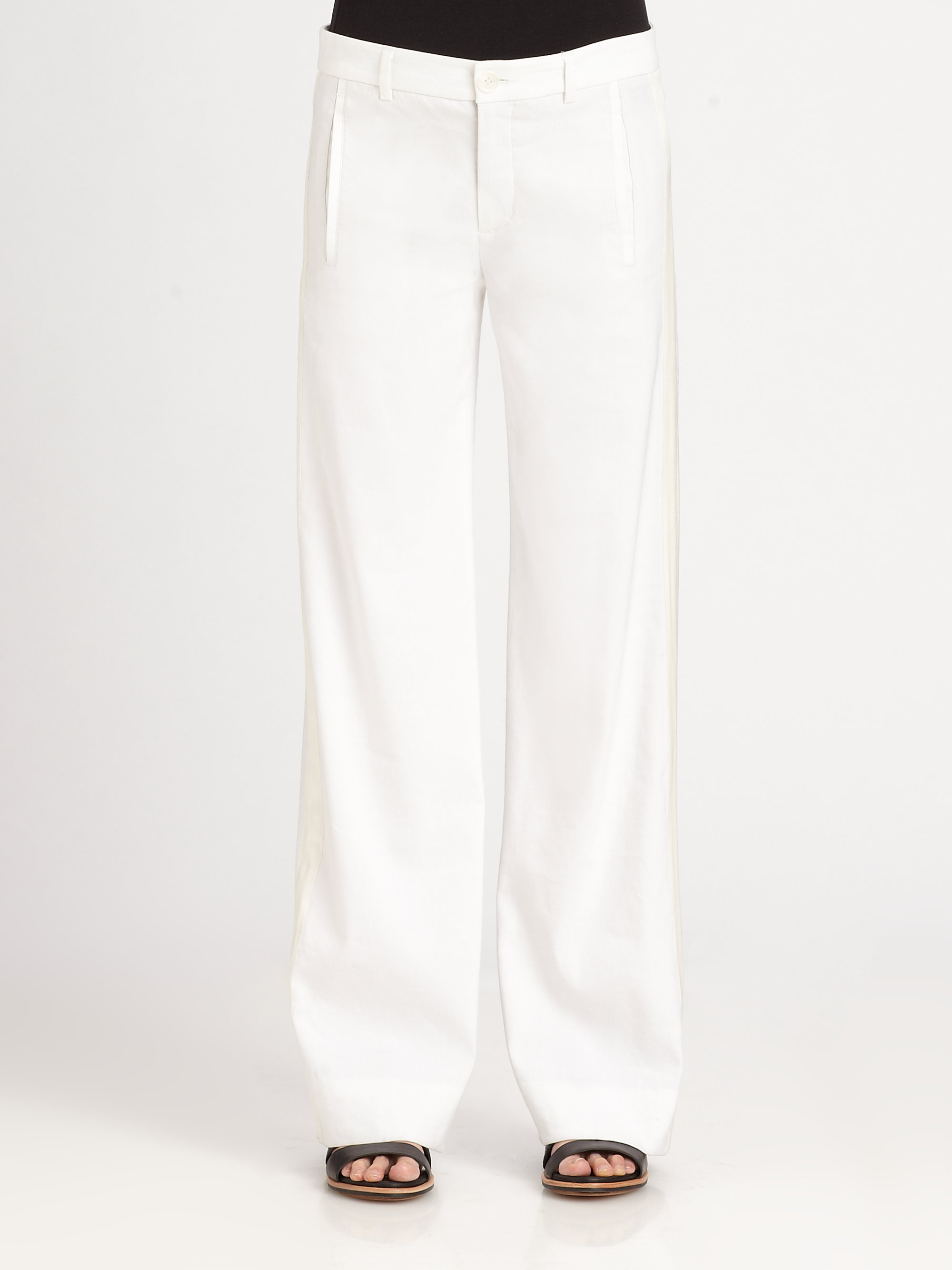 Vince Stretch Linen Pants in White | Lyst