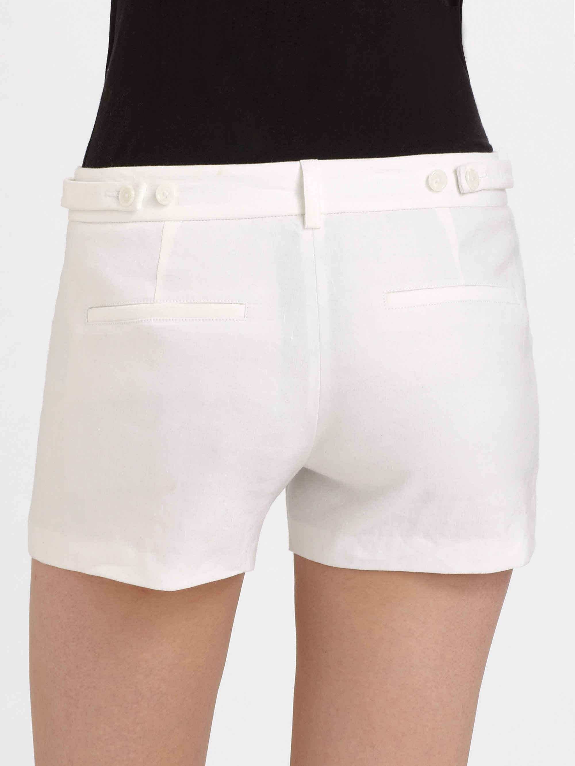 Lyst Vince Stretch Linen Trouser Shorts In White