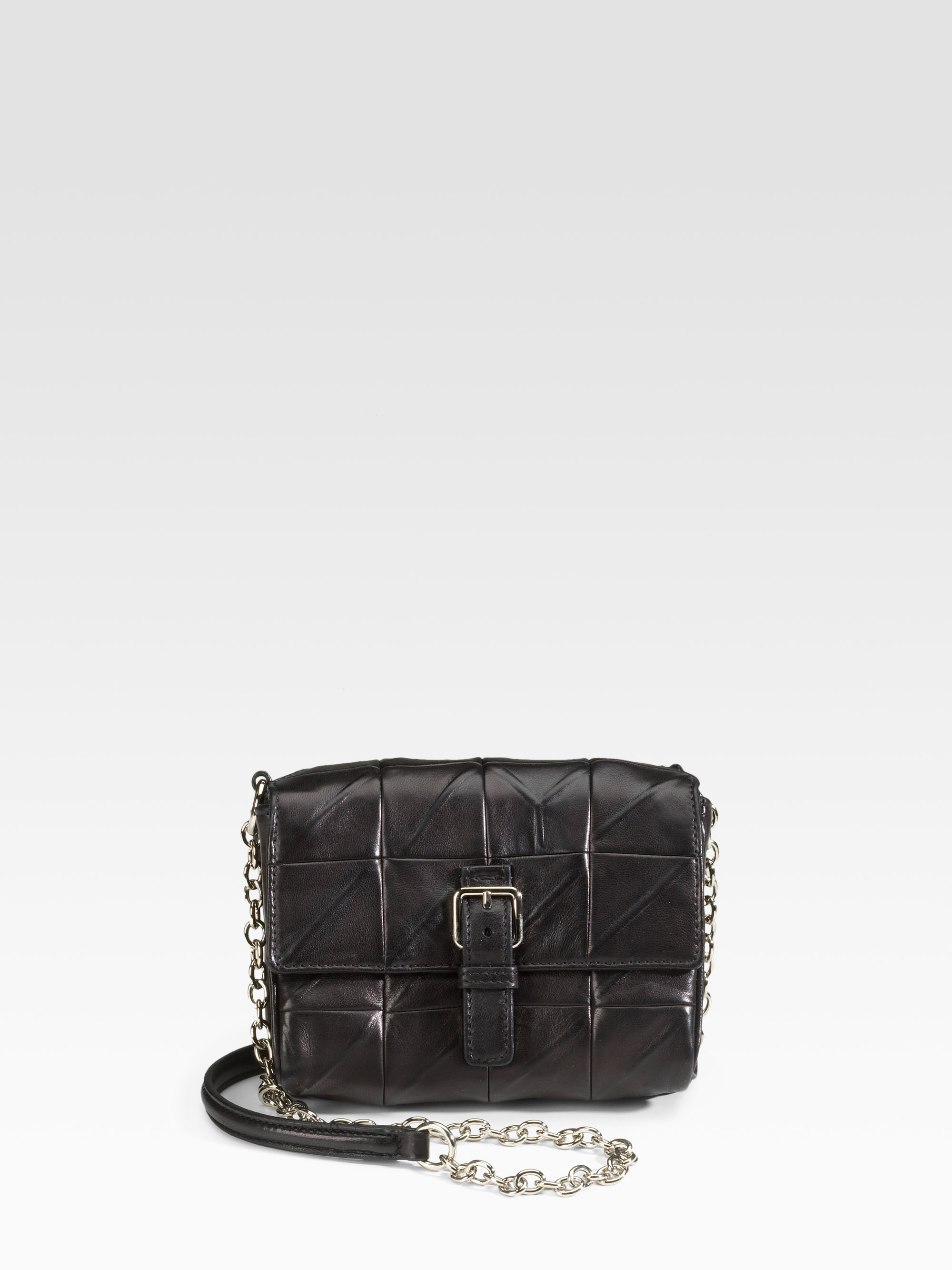 Saint laurent Ysl Mini Leather Flap Bag in Black | Lyst