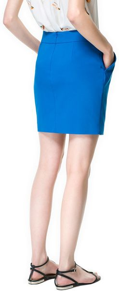 zara tulip skirt in blue lyst