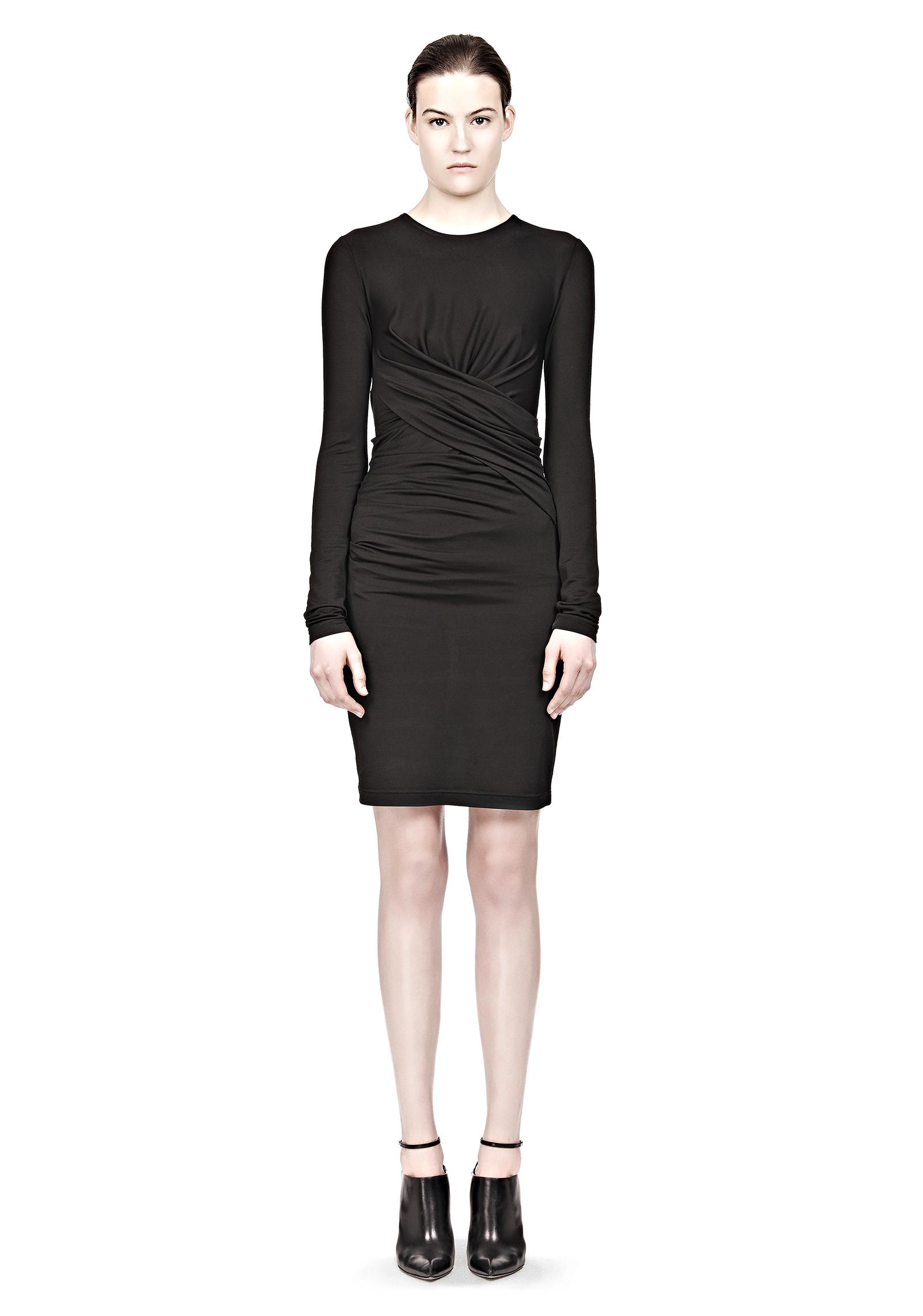 a24285d2099 Alexander Wang Pique Mesh Long Sleeve Twist Dress in Black - Lyst