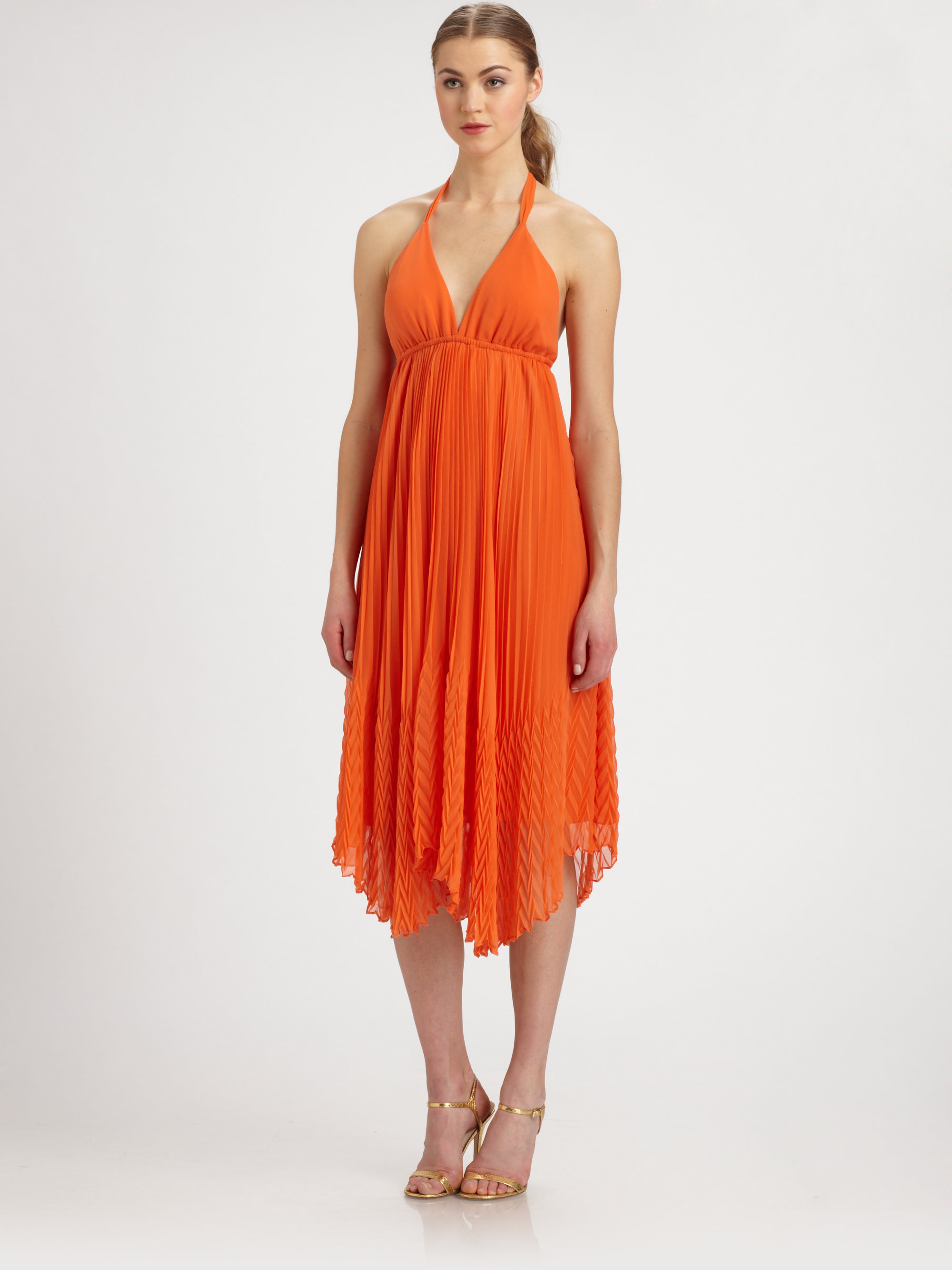 Alice   olivia Adalyn Pleated Halter Dress in Orange | Lyst