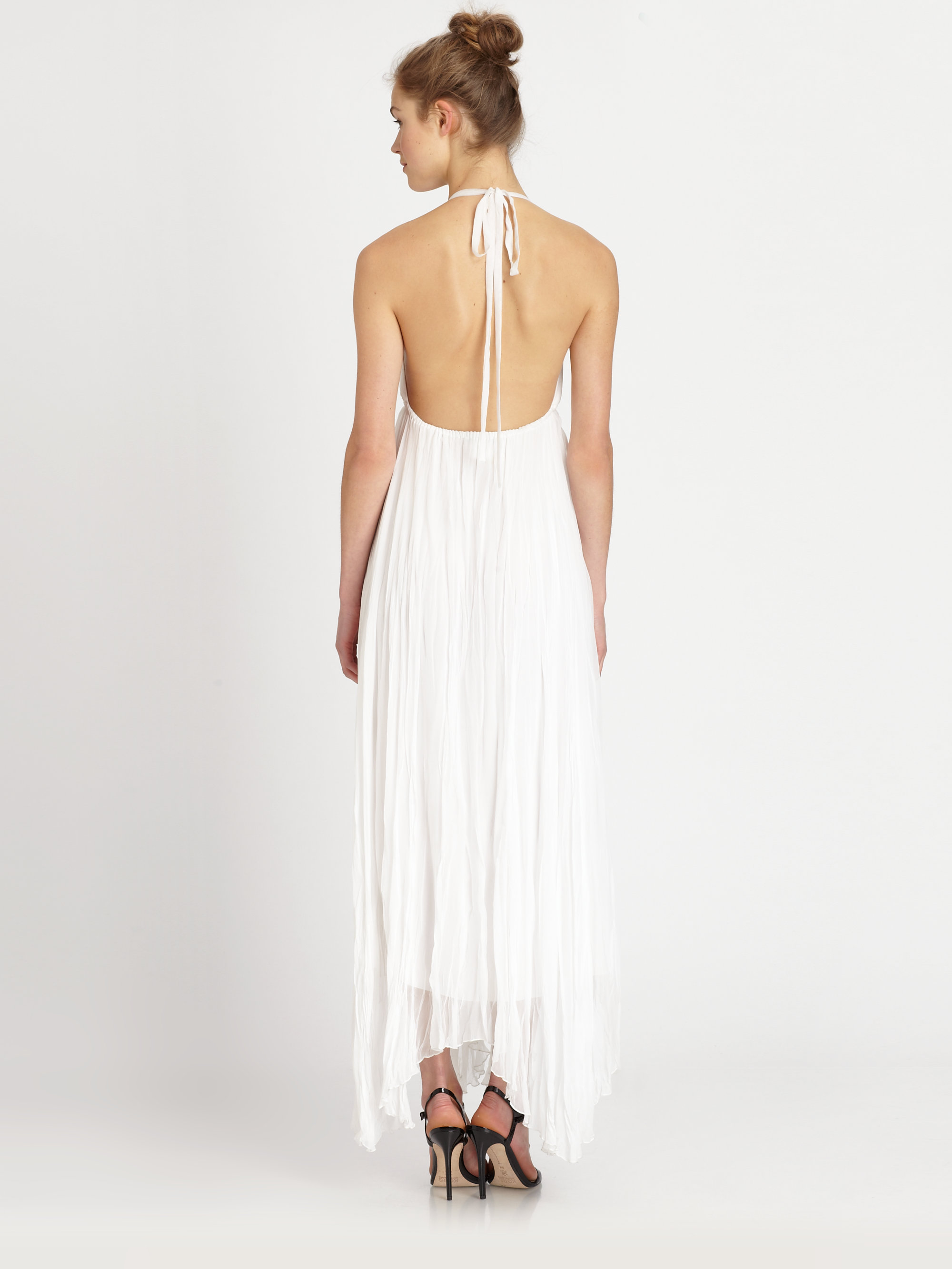 Lyst Alice Olivia Bade Silk Halter Dress In White