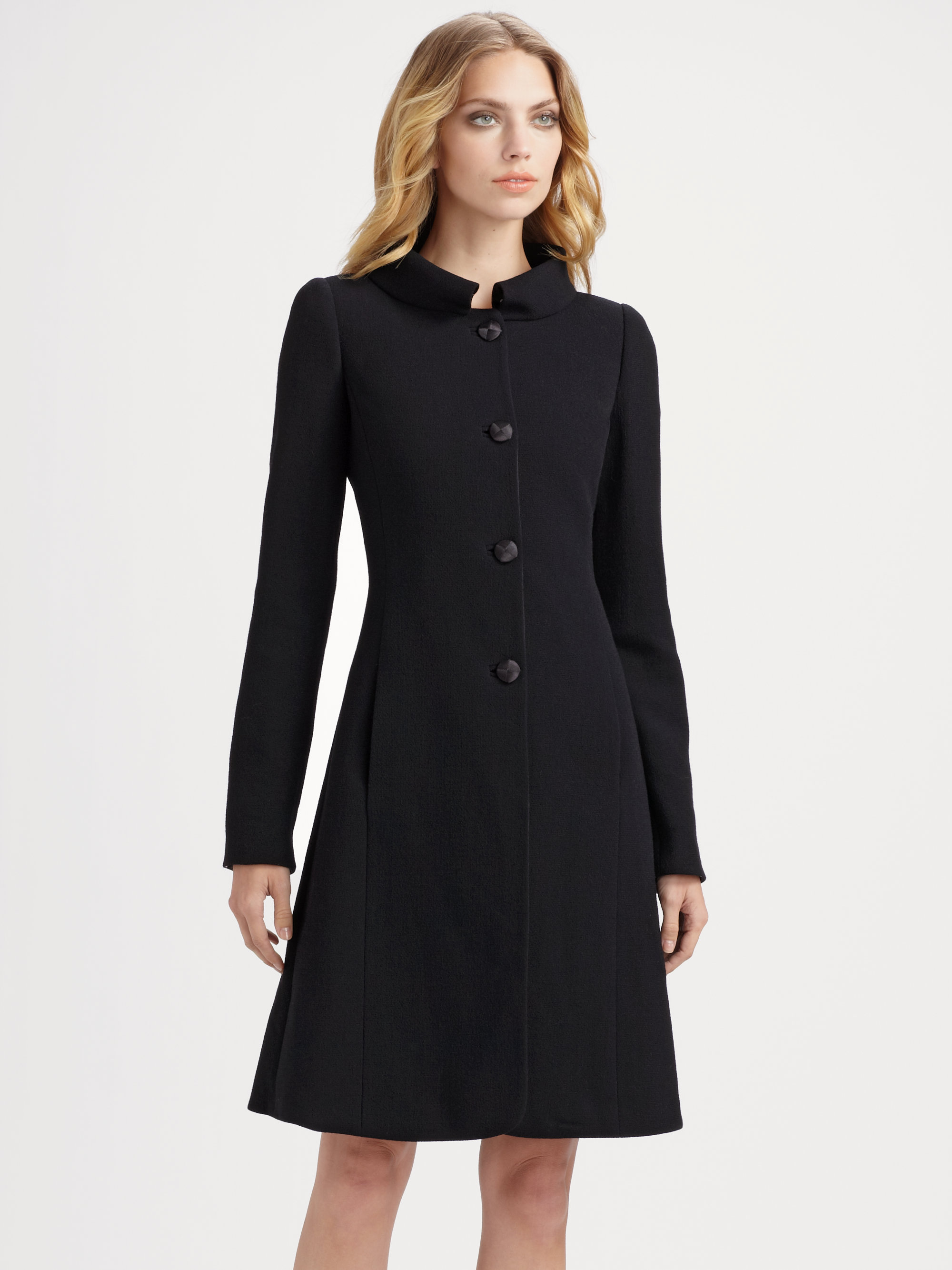 Armani Wool Crepe Coat In Black Lyst