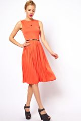 ASOS Collection Sleeveless Midi Dress with Pleated Skirt and Belt - Lyst