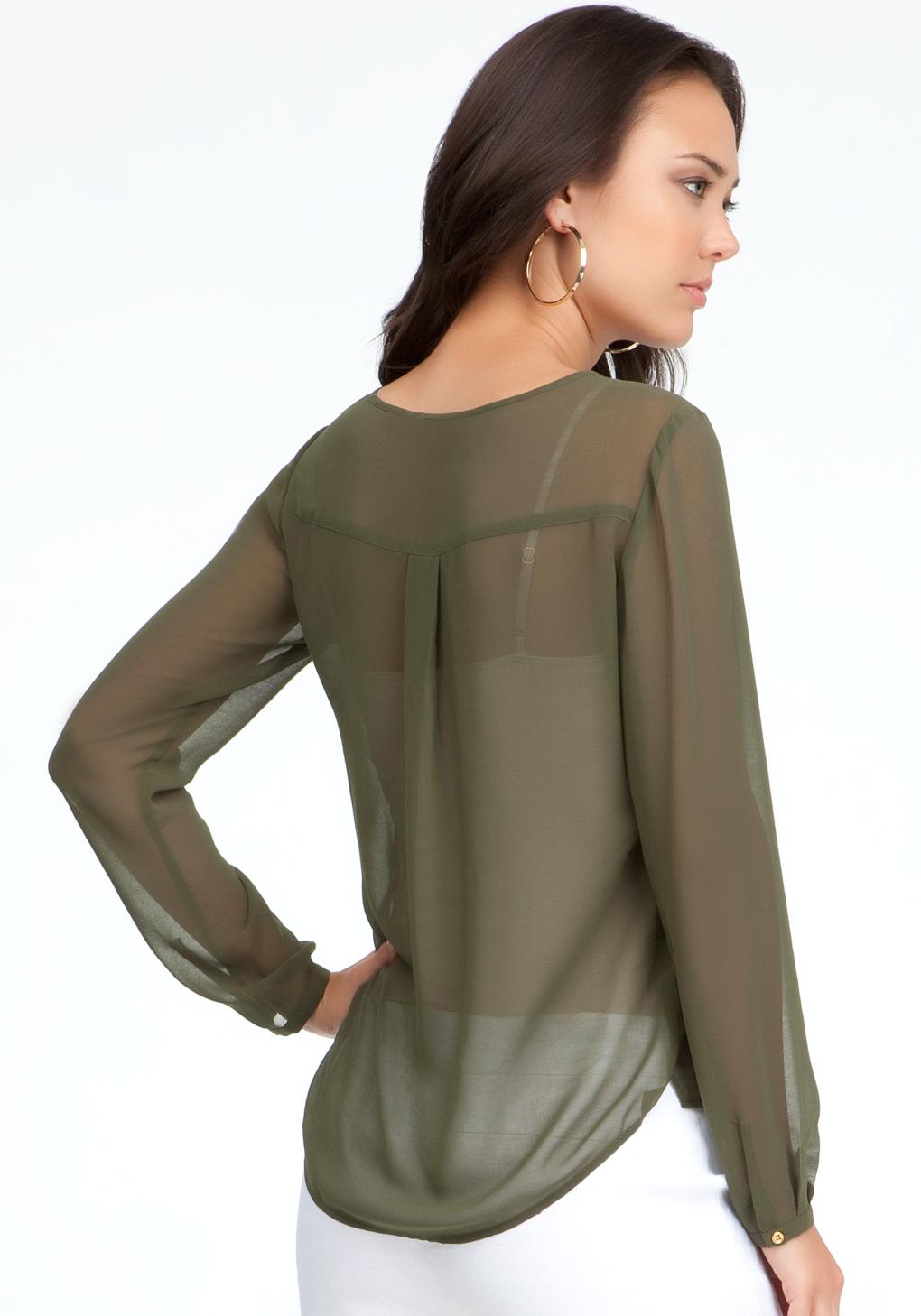 cc5124b7d2f97c Bebe Long Sleeve Sheer Blouse in Green - Lyst