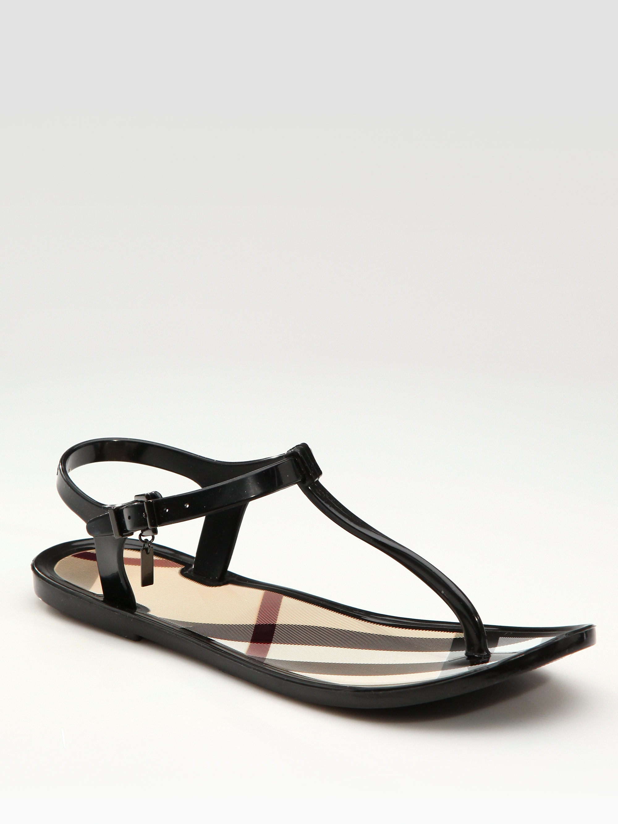 6a01a4a79ddf Lyst - Burberry Rubber Thong Sandals in Black