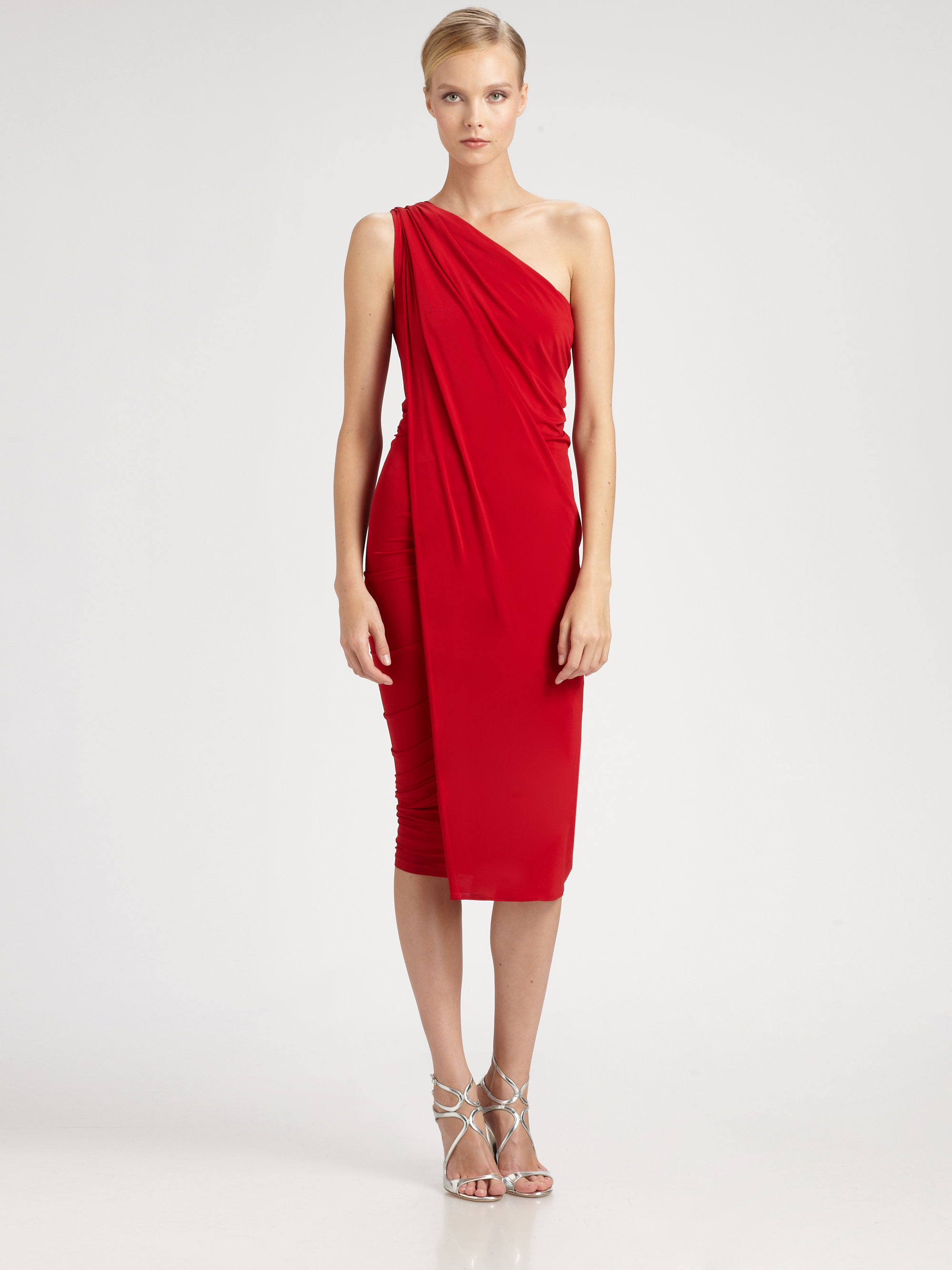 Donna karan new york asymmetrical dress in lipstick red for Donna karen new york