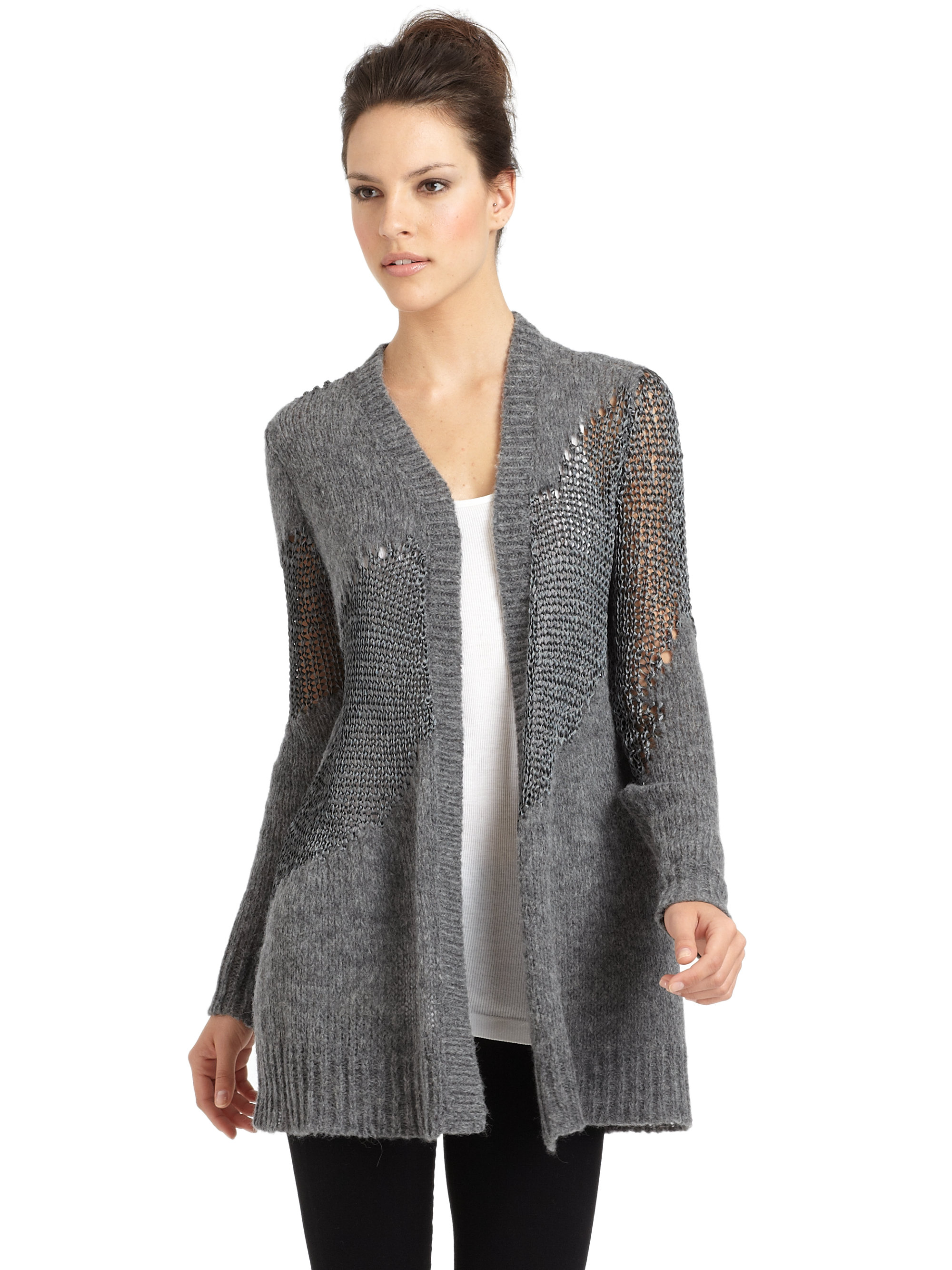 Eileen fisher Tonal Knit Long Cardigan in Gray Lyst