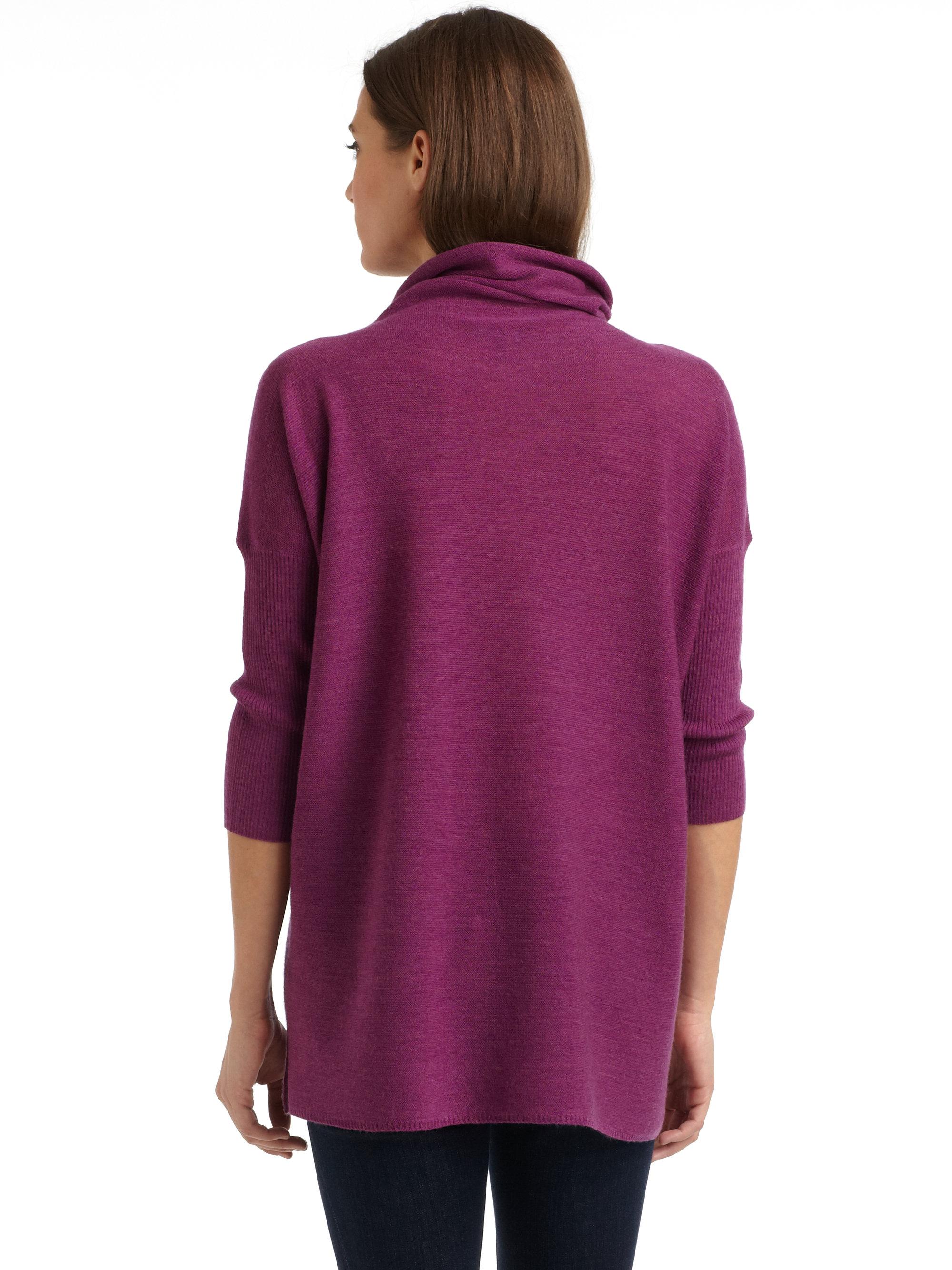 Eileen fisher Merino Wool Turtleneck in Purple | Lyst