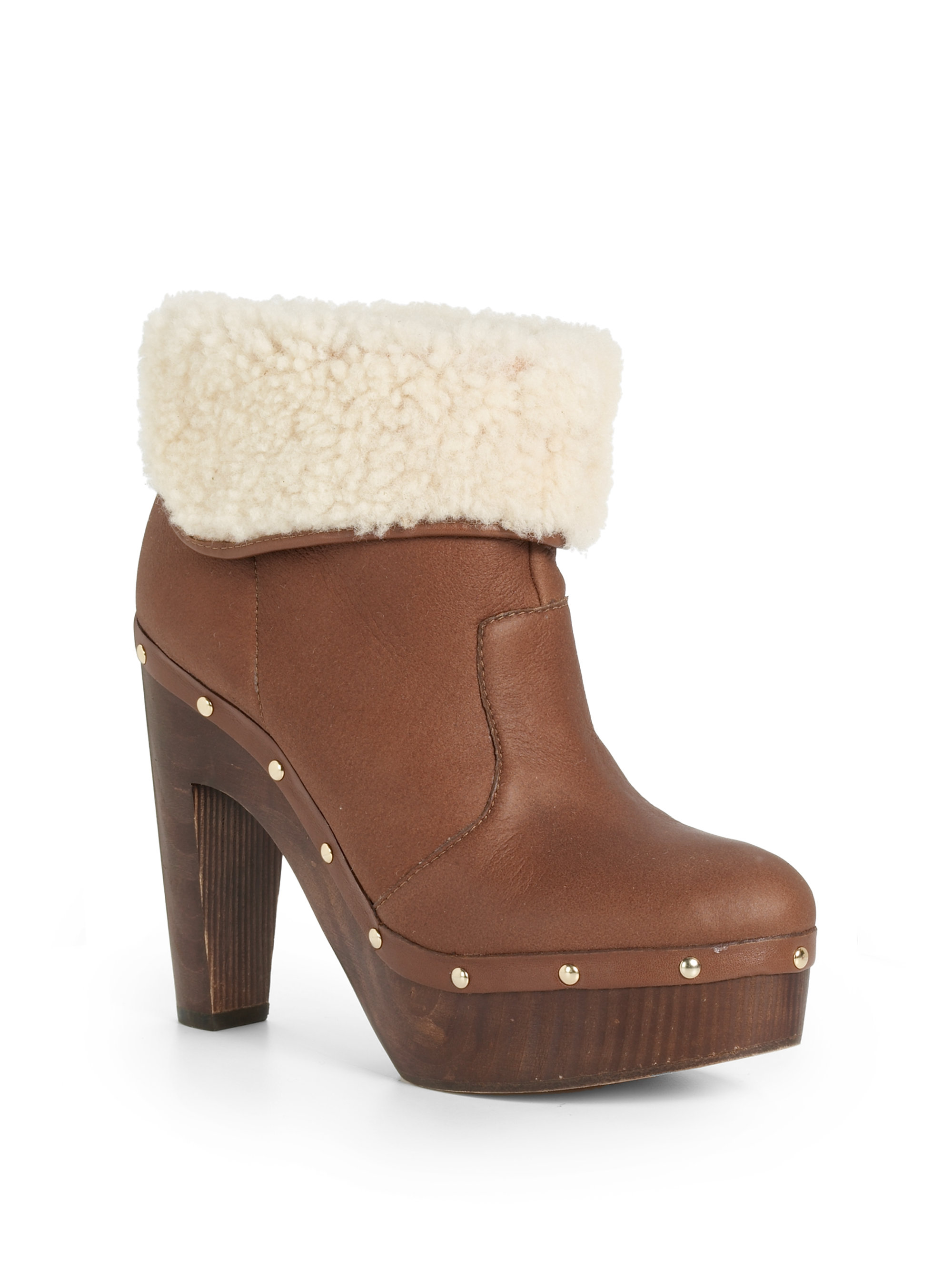 elie tahari shelly shearling clog ankle boots in brown