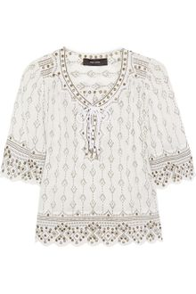 Isabel Marant Anya Embellished Cheese cloth Top - Lyst