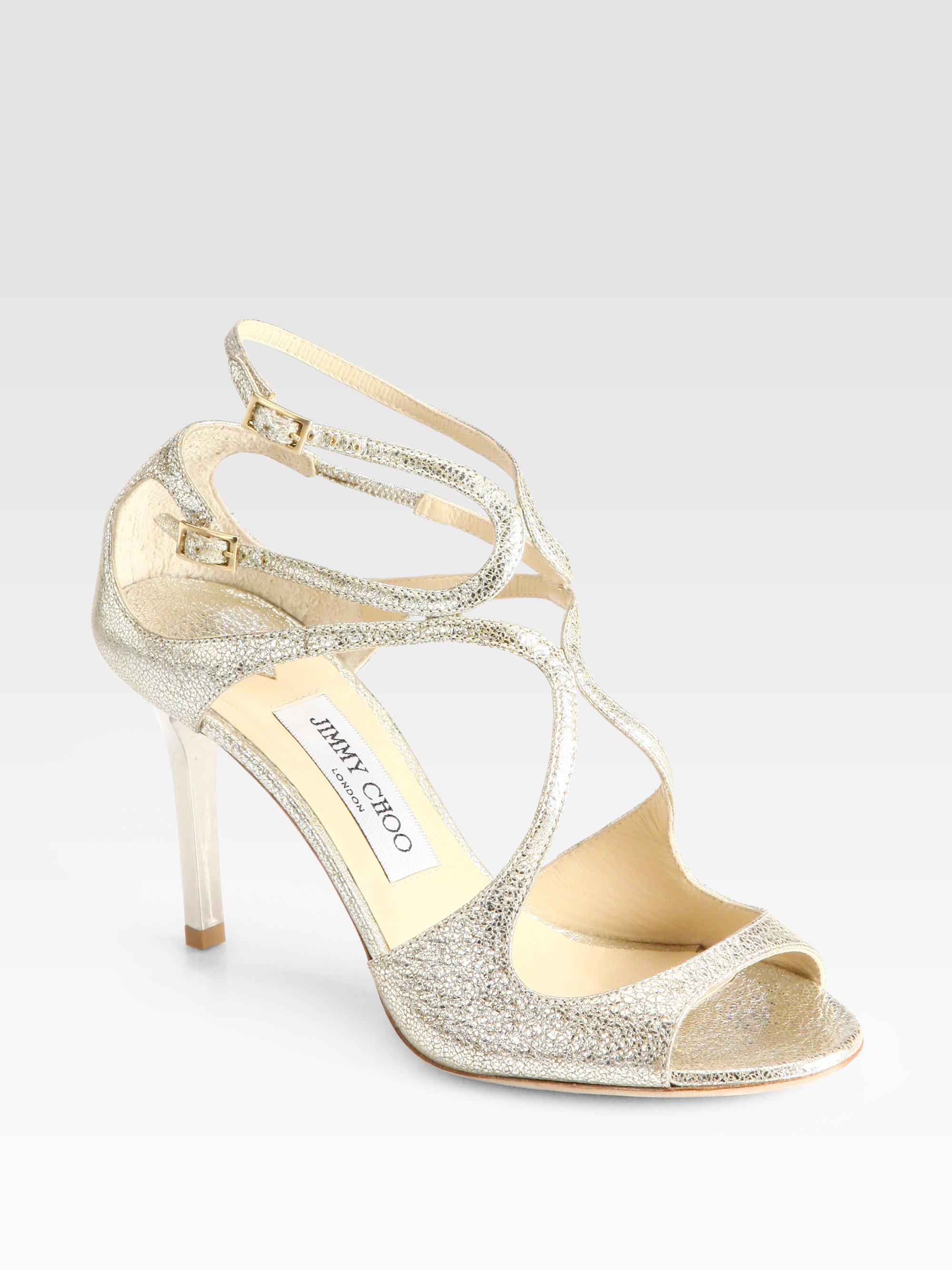 c79d6b81fd Jimmy Choo Ivette Crinkled Leather Sandals in Metallic - Lyst