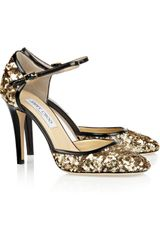 Jimmy Choo Tessa Sequined Leather Pumps in Gold - Lyst